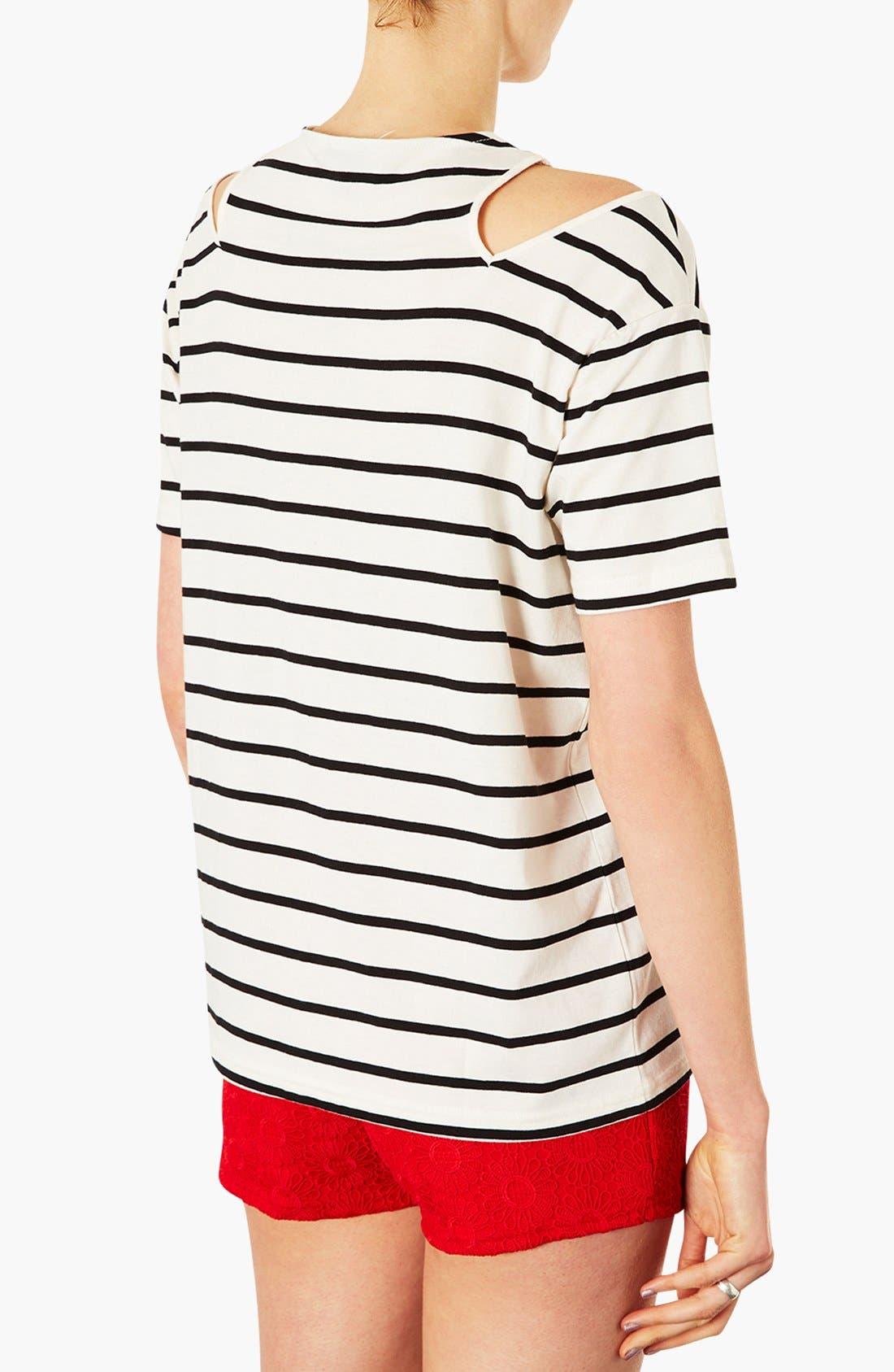 Alternate Image 2  - Topshop Split Shoulder Stripe Tee