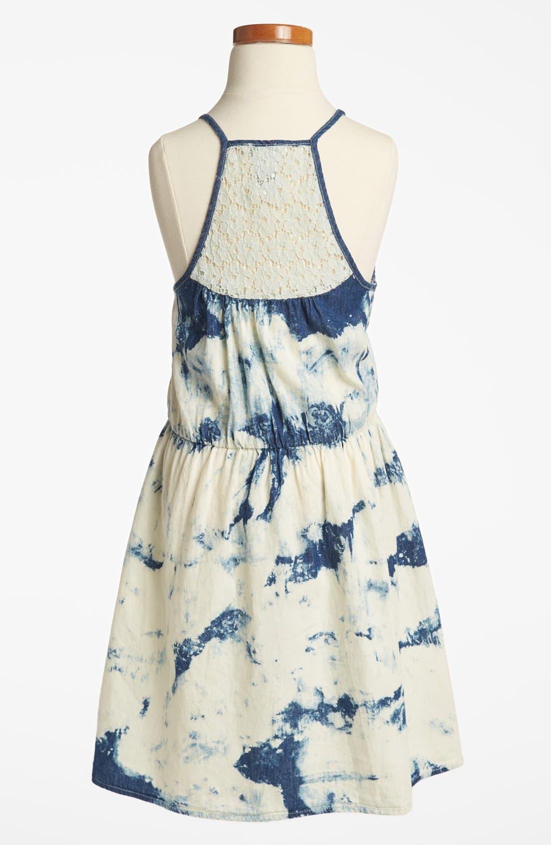 Alternate Image 2  - Mia Chica Acid Wash Chambray Dress (Big Girls)