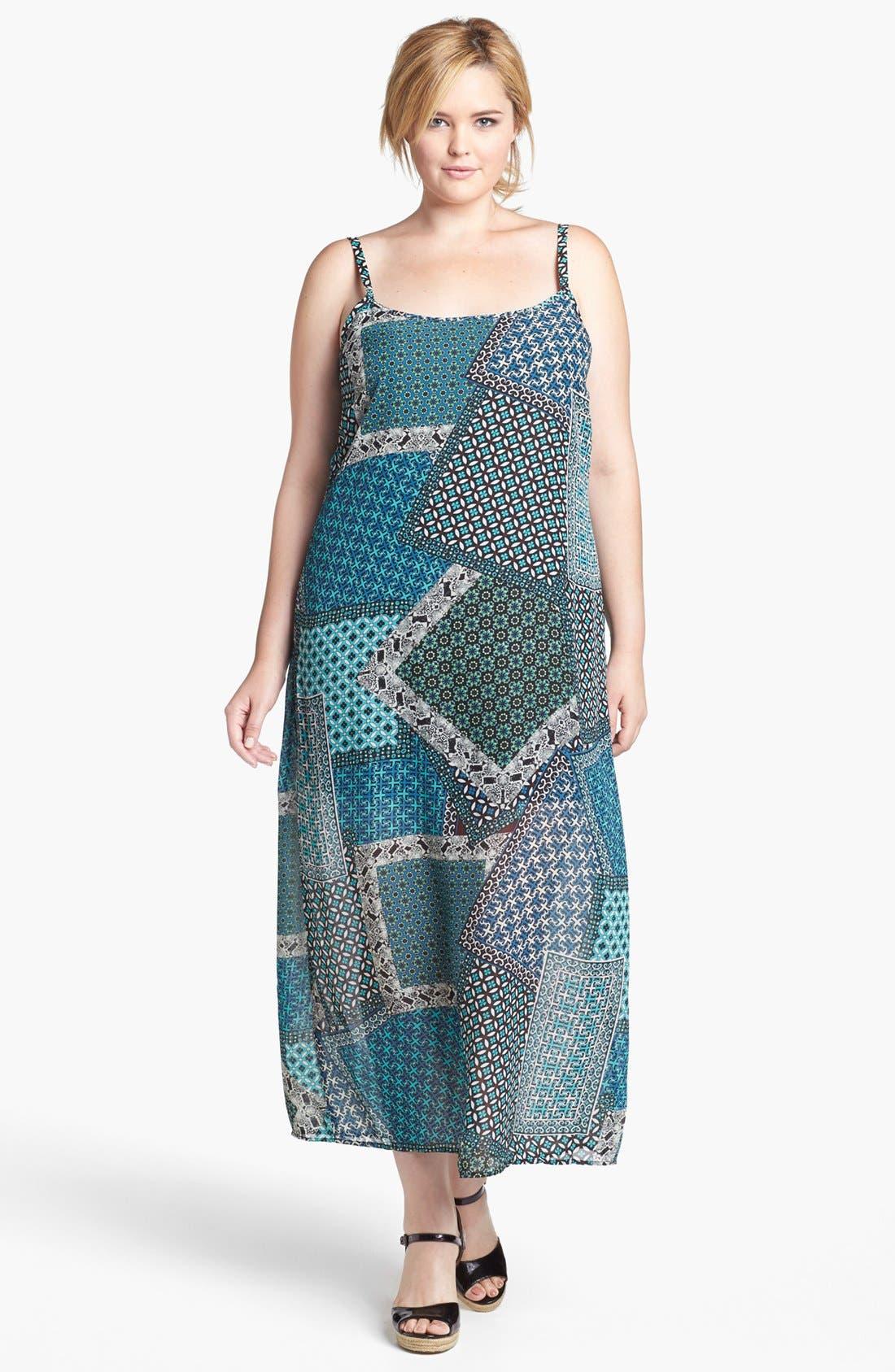 Alternate Image 1 Selected - Mimi Chica Patchwork Print Maxi Dress (Juniors Plus)