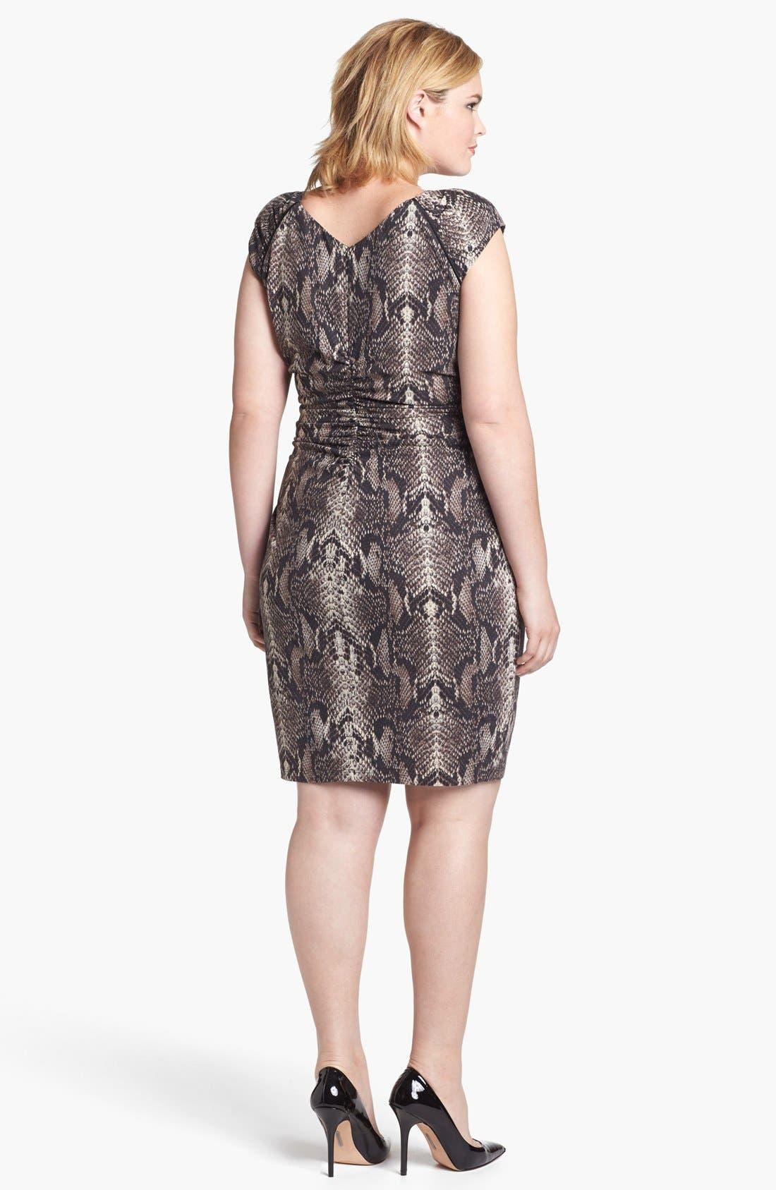 Alternate Image 2  - Ivy & Blu Ruched Sheath Dress (Plus Size)