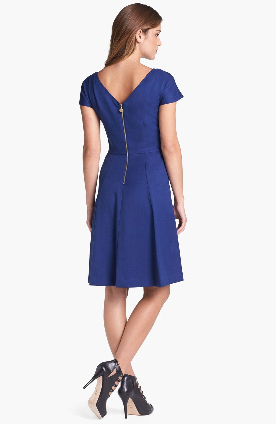 Alternate Image 2  - Ellen Tracy Cap Sleeve Fit & Flare Dress