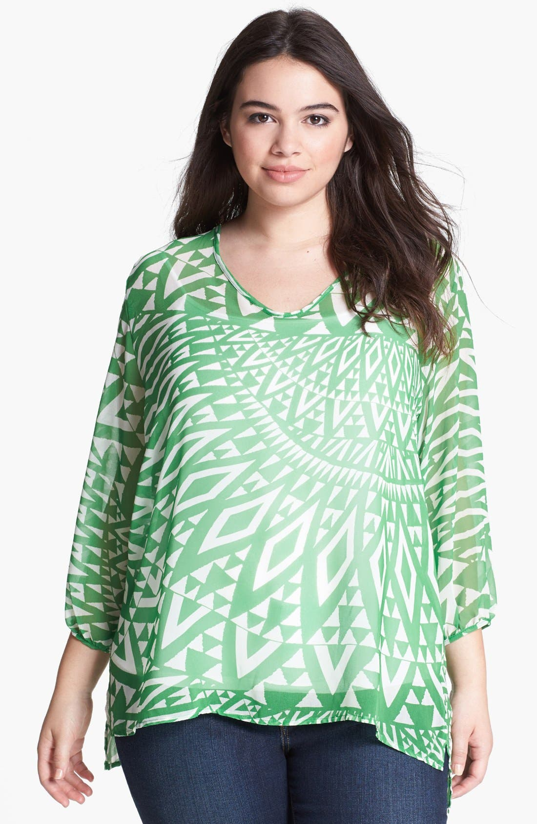 Main Image - Sweet Pea by Stacy Frati Print Ruffled Top (Plus)
