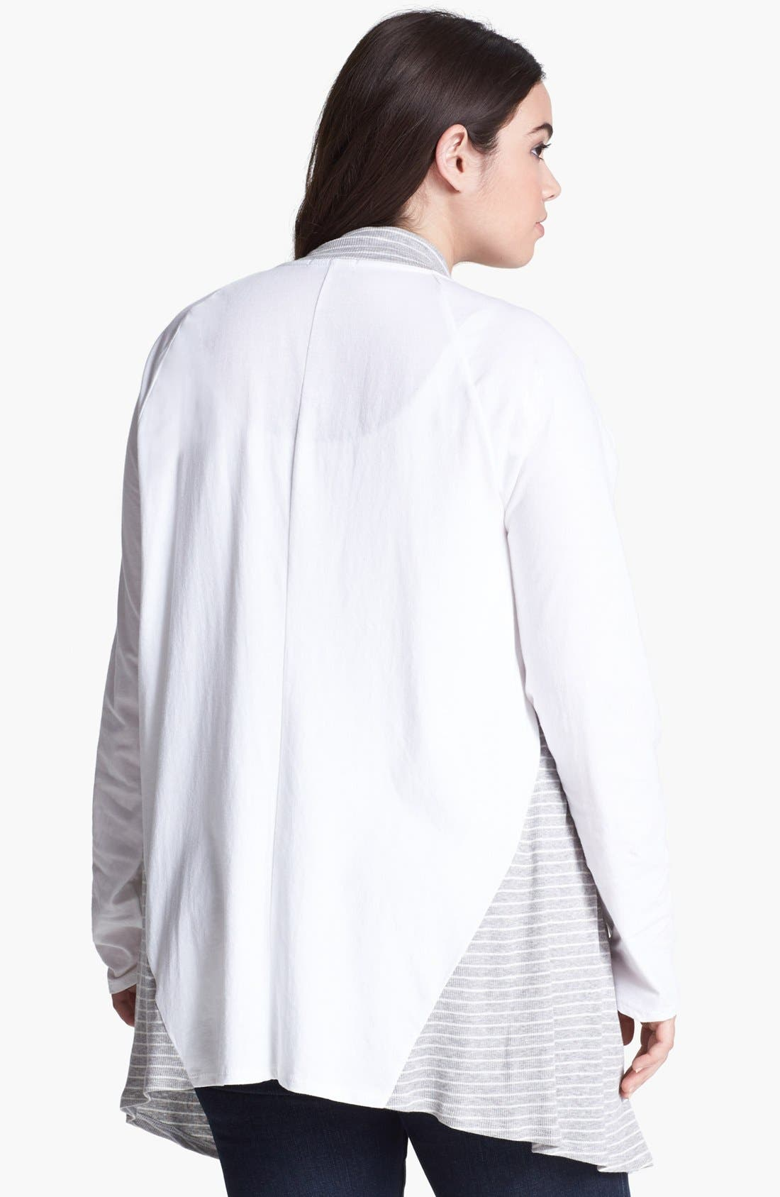 Alternate Image 2  - LAmade Draped Jersey Cardigan (Plus Size)