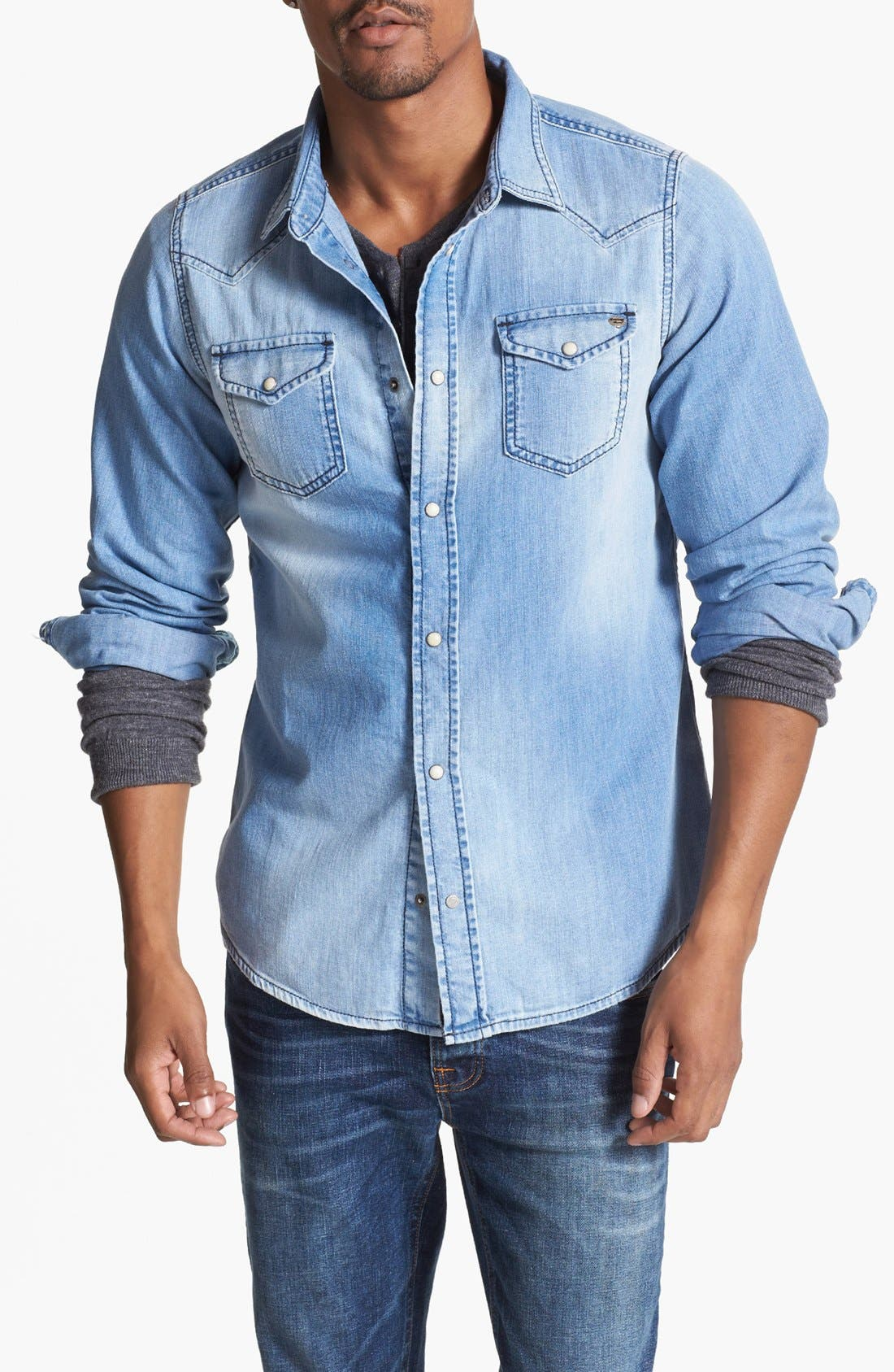 Alternate Image 1 Selected - DIESEL® 'Sonora' Chambray Denim Shirt