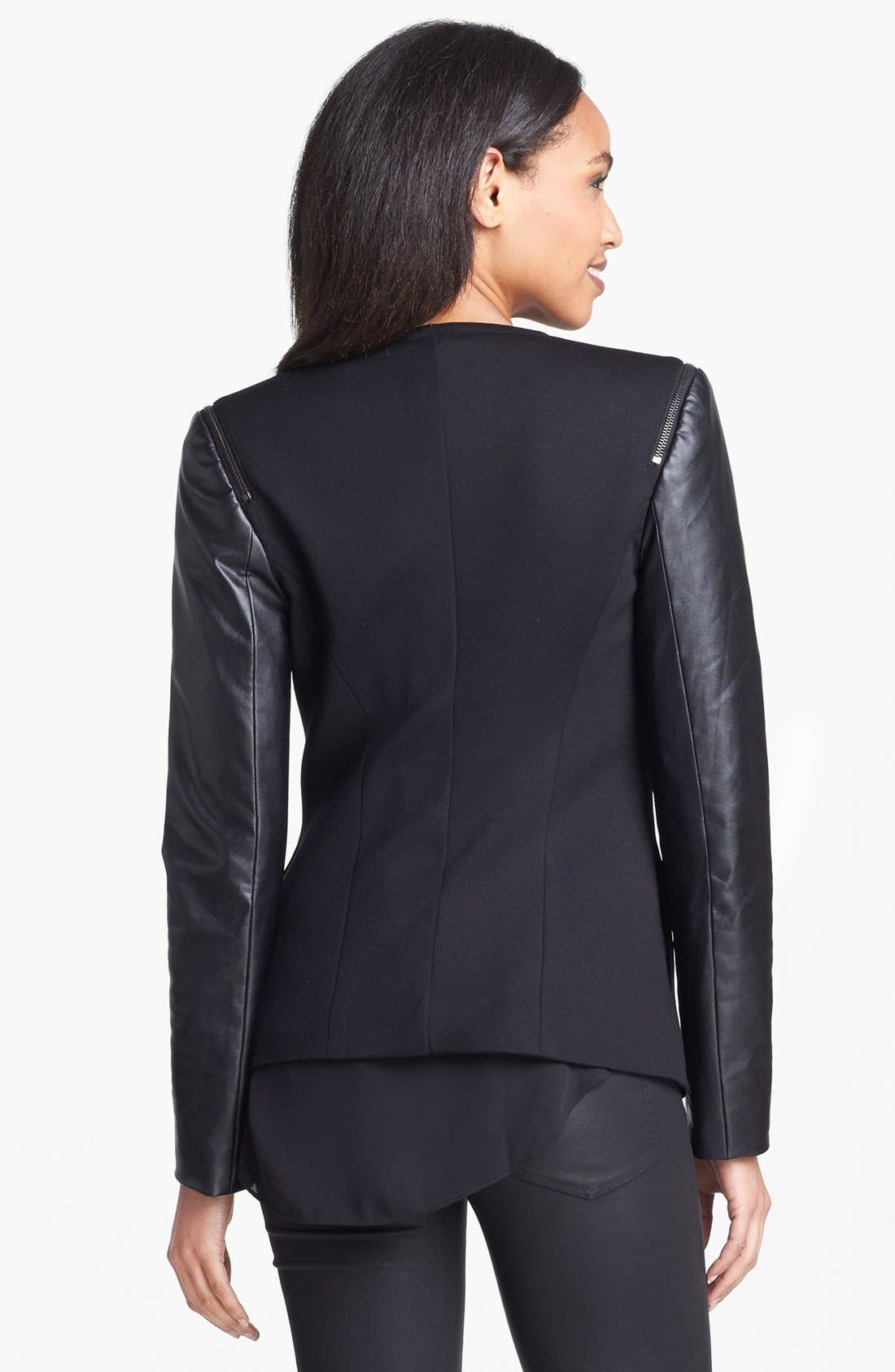 Alternate Image 2  - Vince Camuto Collarless Faux Leather Sleeve Jacket