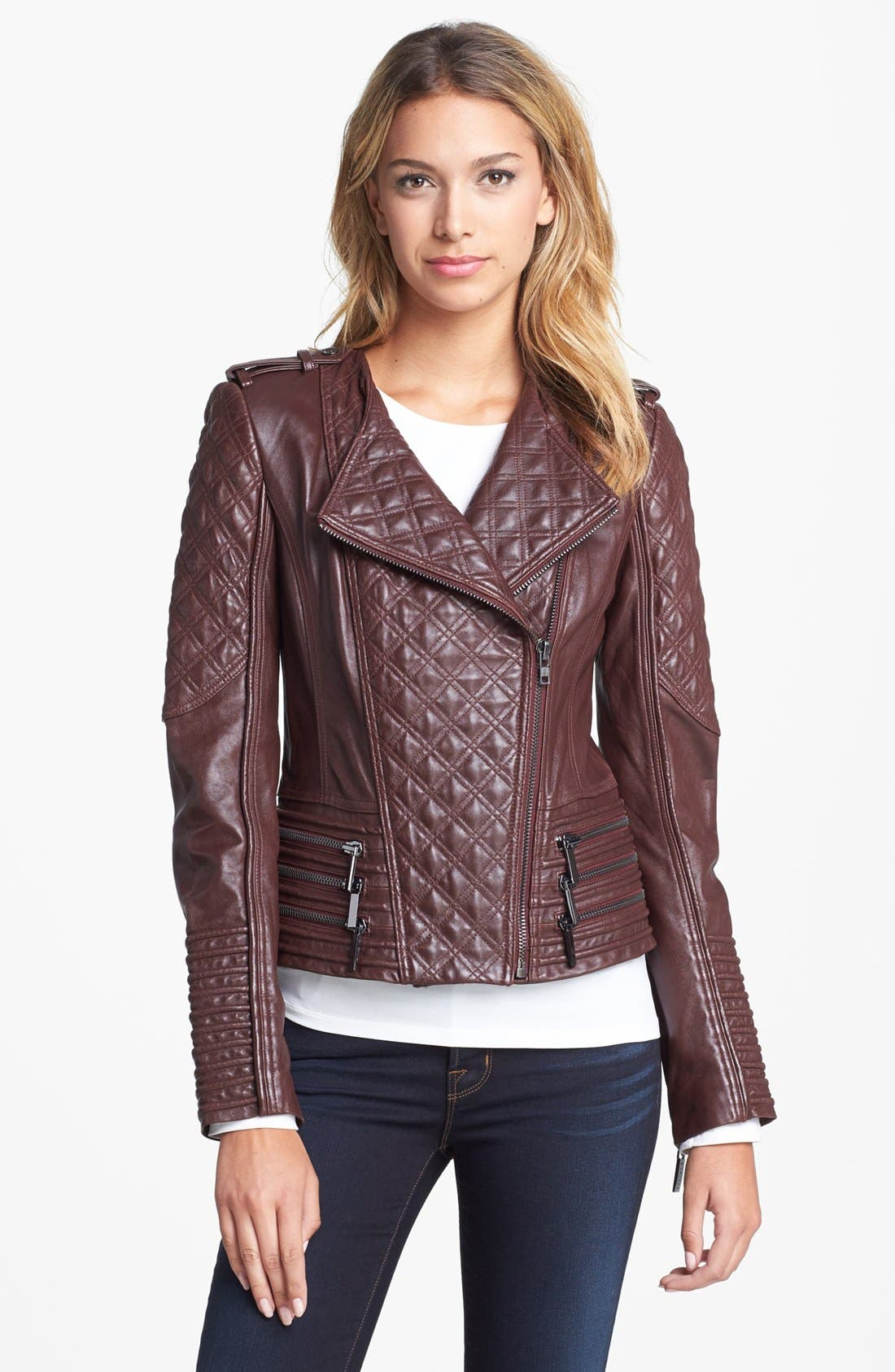 Main Image - Ashley B Zip Trim Quilted Leather Moto Jacket