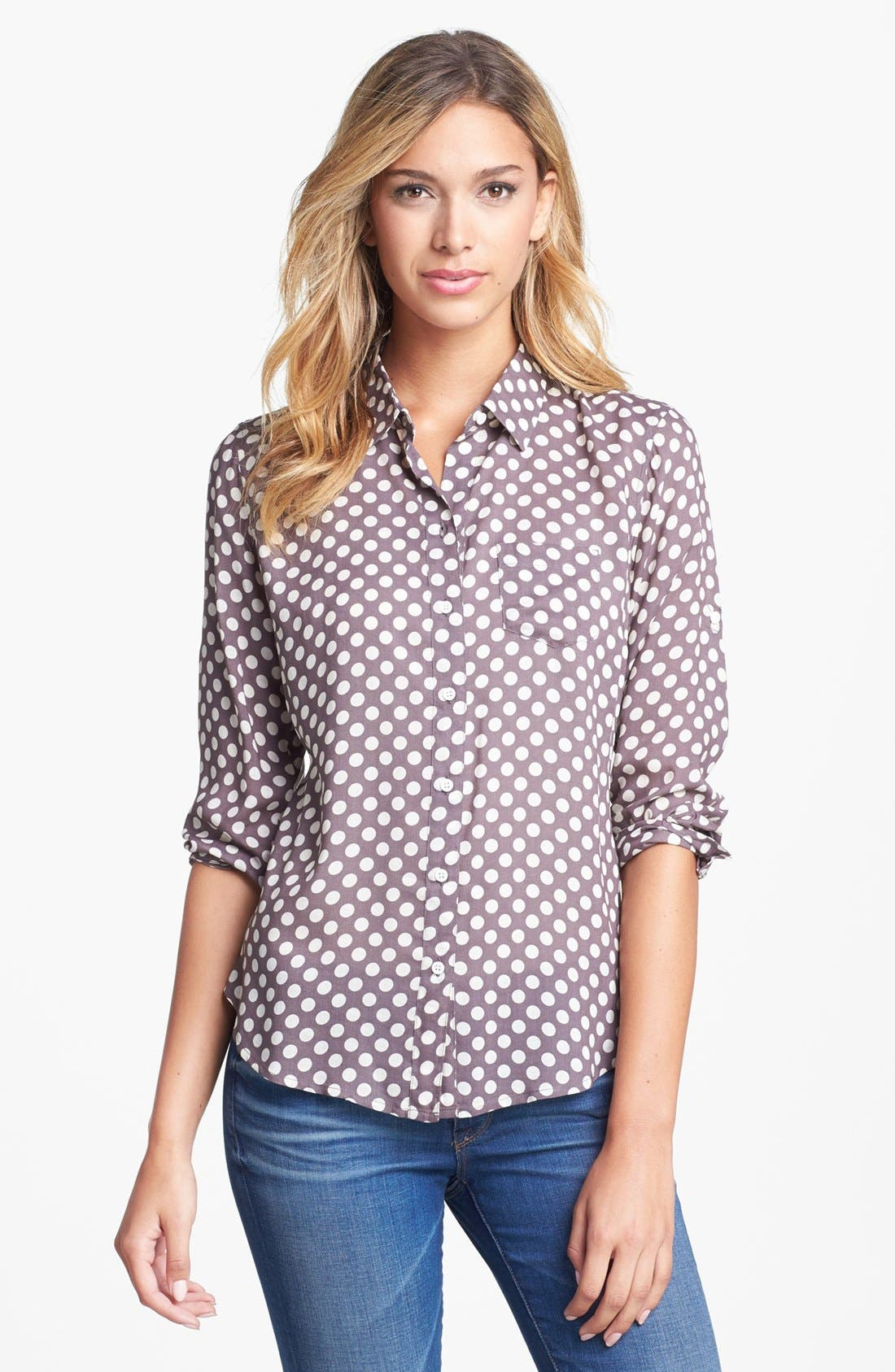 Main Image - Sandra Ingrish Polka Dot Roll Sleeve Blouse (Petite)