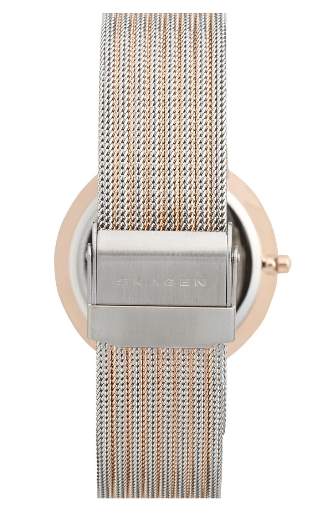 Alternate Image 2  - Skagen Faceted Bezel Stripe Mesh Strap Watch, 34mm
