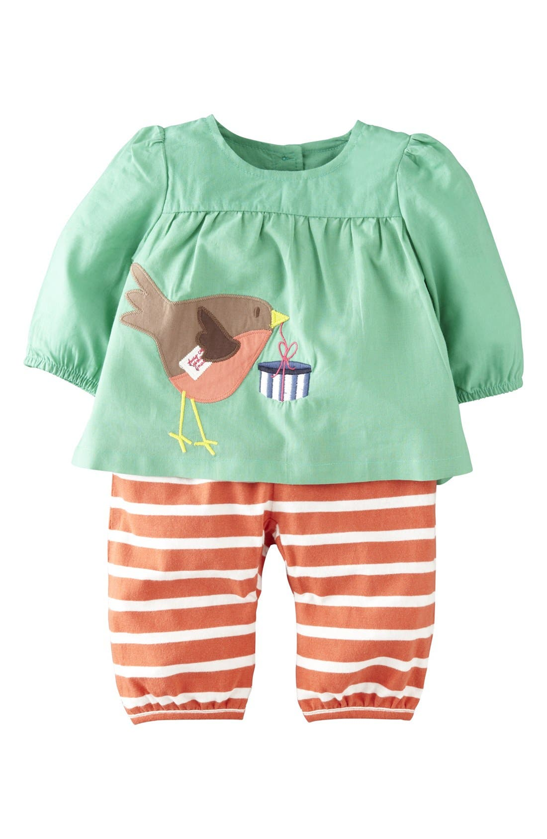 Alternate Image 1 Selected - Mini Boden Appliqué Tunic & Pants (Baby Girls)