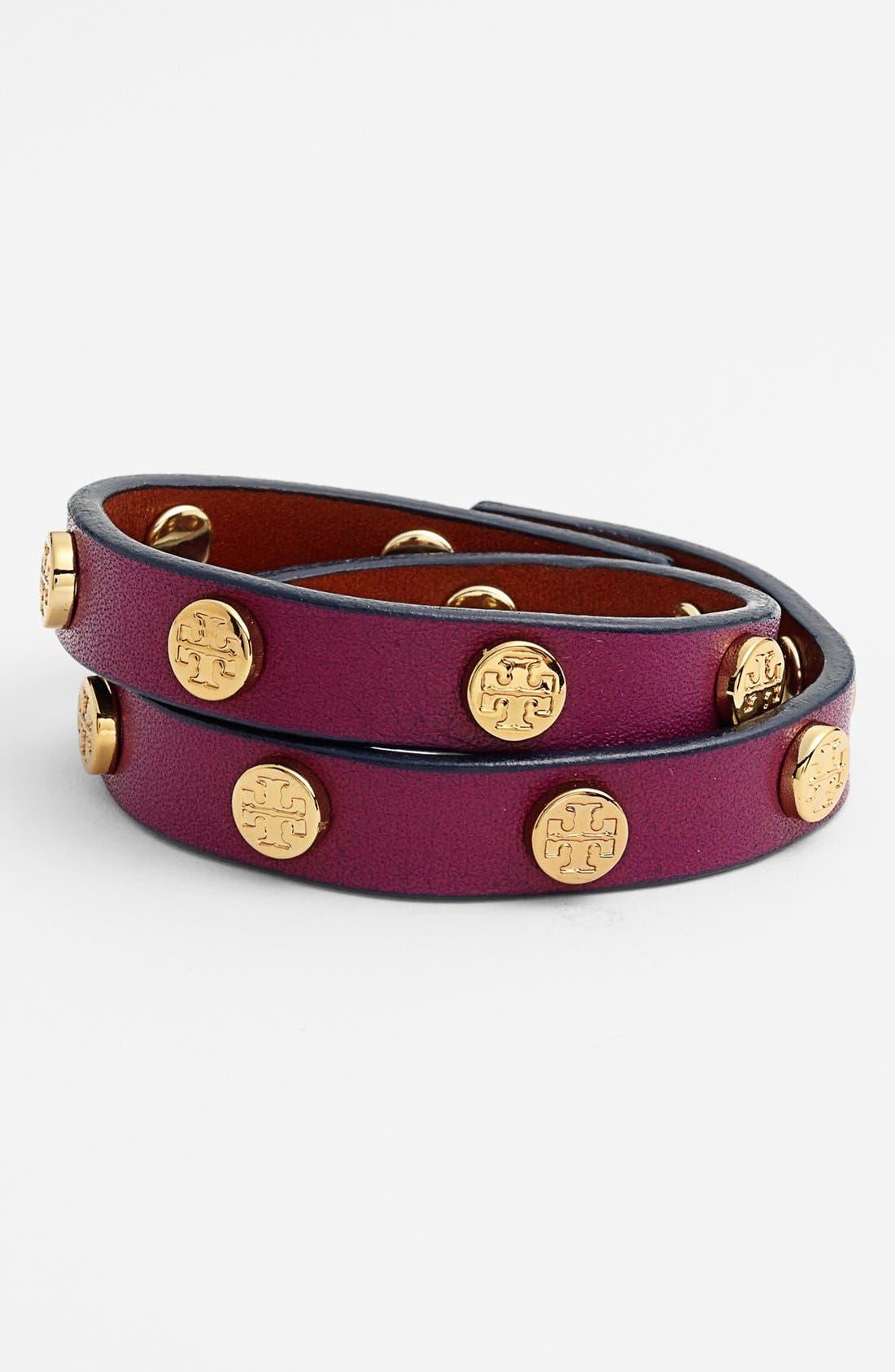 Main Image - Tory Burch Logo Leather Wrap Bracelet