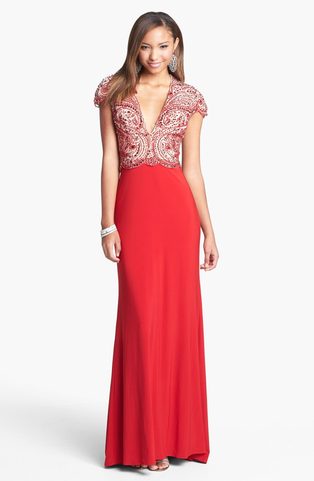Main Image - Sherri Hill Embellished Bodice Jersey Gown