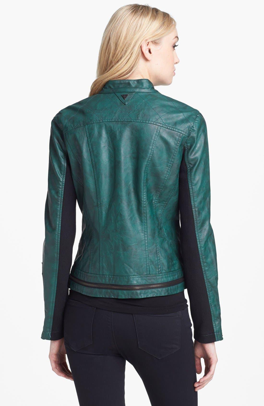 Alternate Image 2  - Sam Edelman Faux Leather Moto Jacket (Online Only)