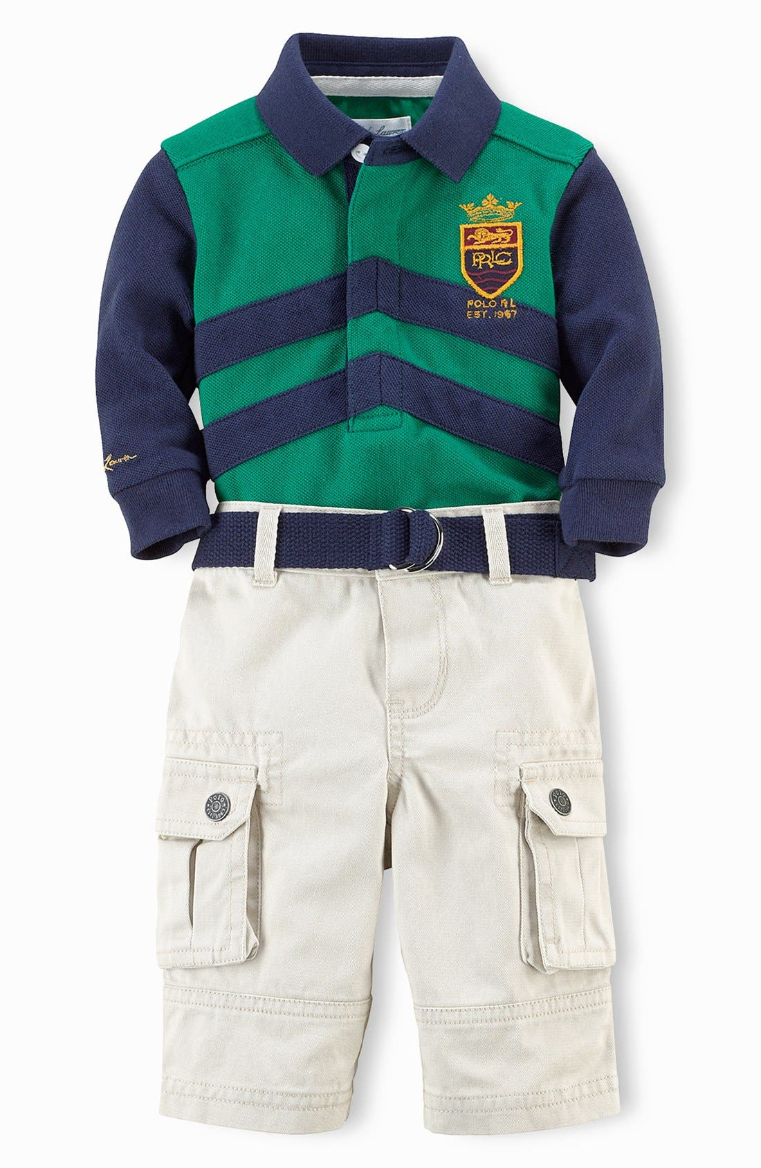 Alternate Image 1 Selected - Ralph Lauren Polo & Pants (Baby Boys)