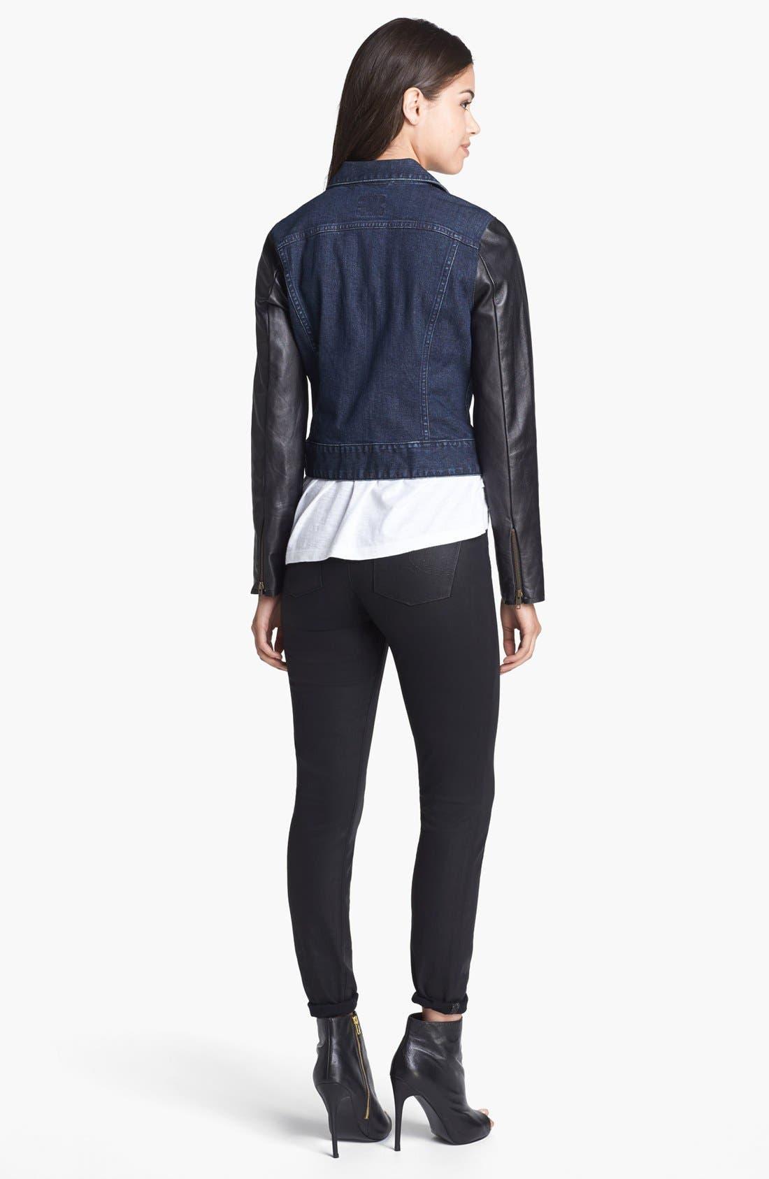 Alternate Image 3  - Lucky Brand 'Sofia' Coated Skinny Jeans (Black)