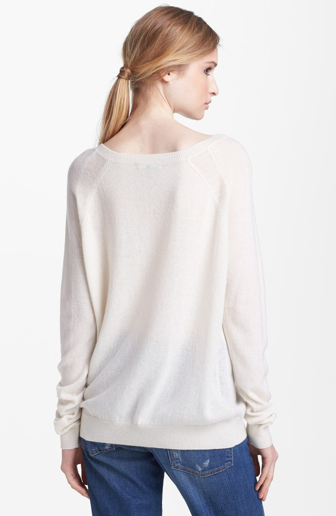 Alternate Image 2  - Vince Sheer Panel Raglan Cashmere Sweater