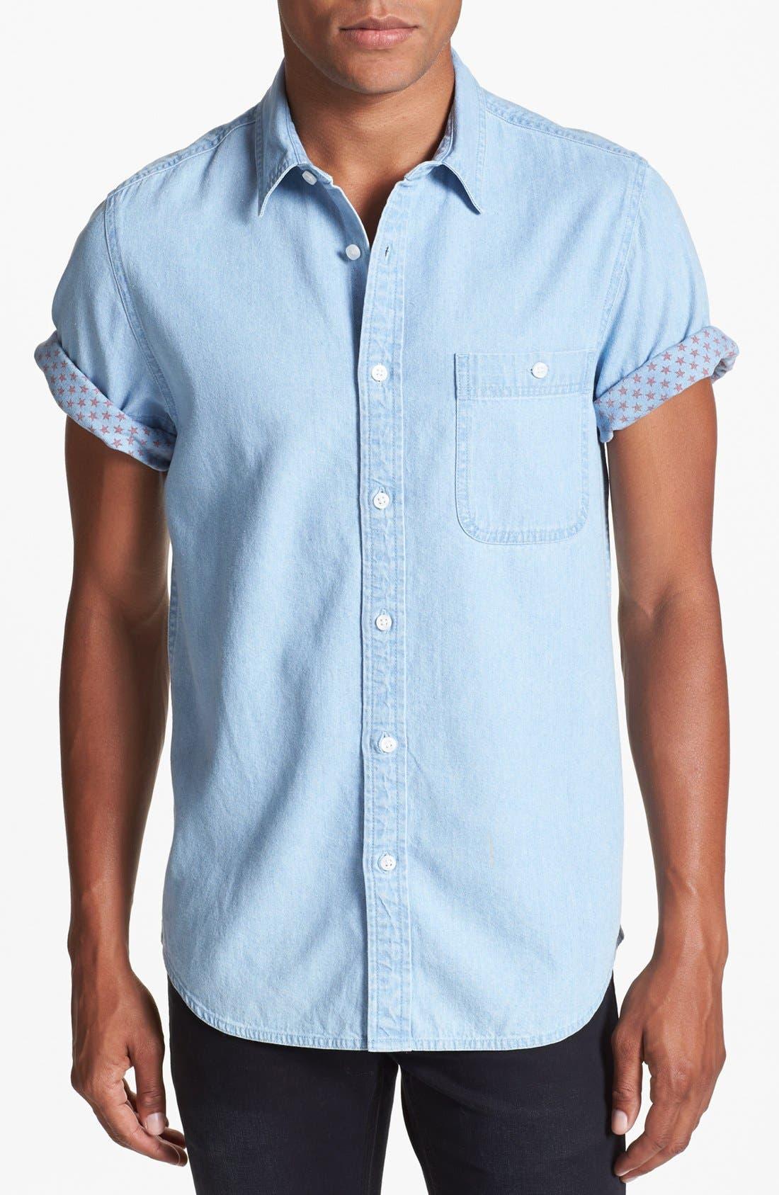 Main Image - Topman Short Sleeve Denim Shirt