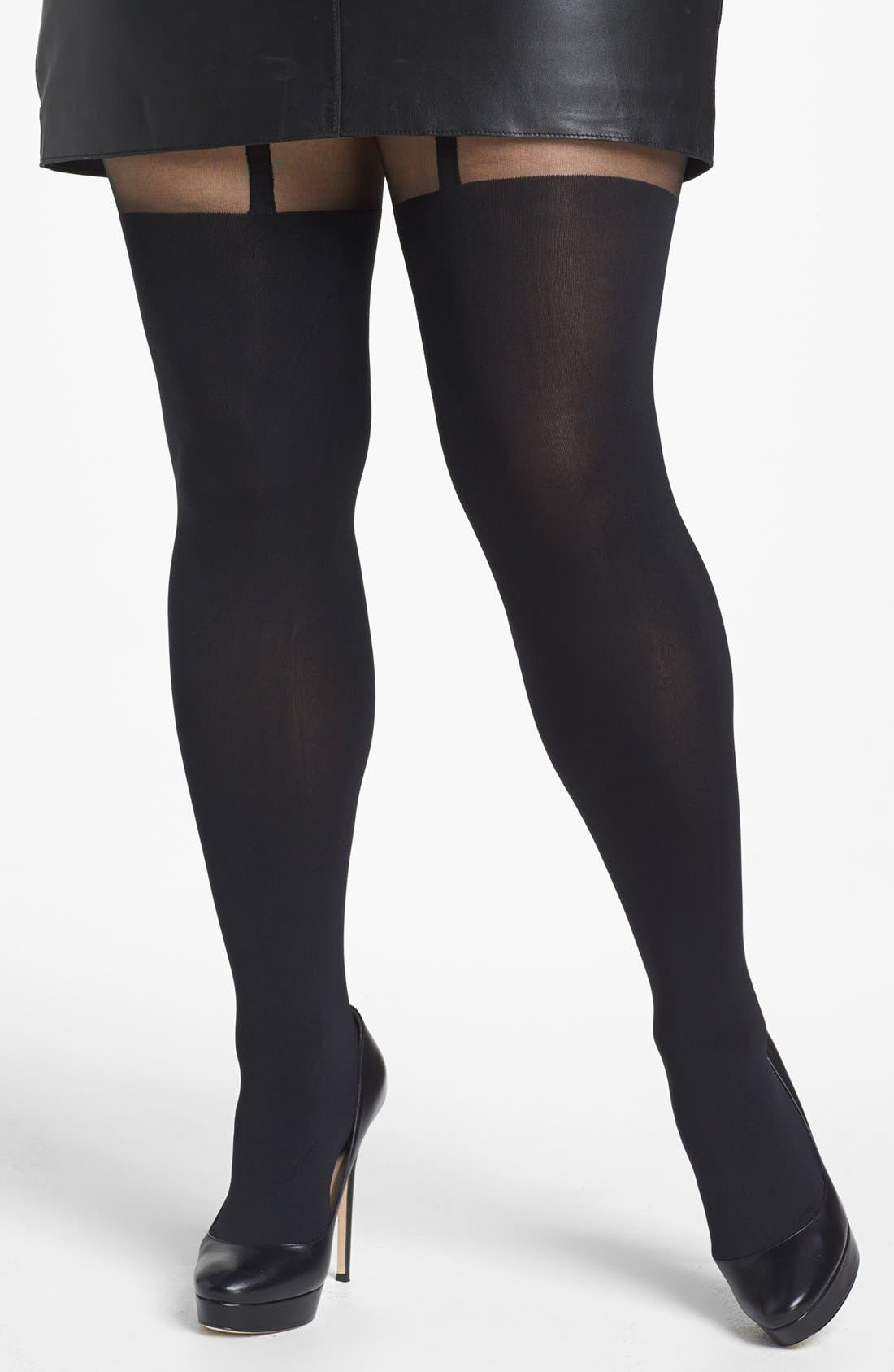 Alternate Image 1 Selected - Pretty Polly 'Curves - Suspender' Tights (Plus Size)