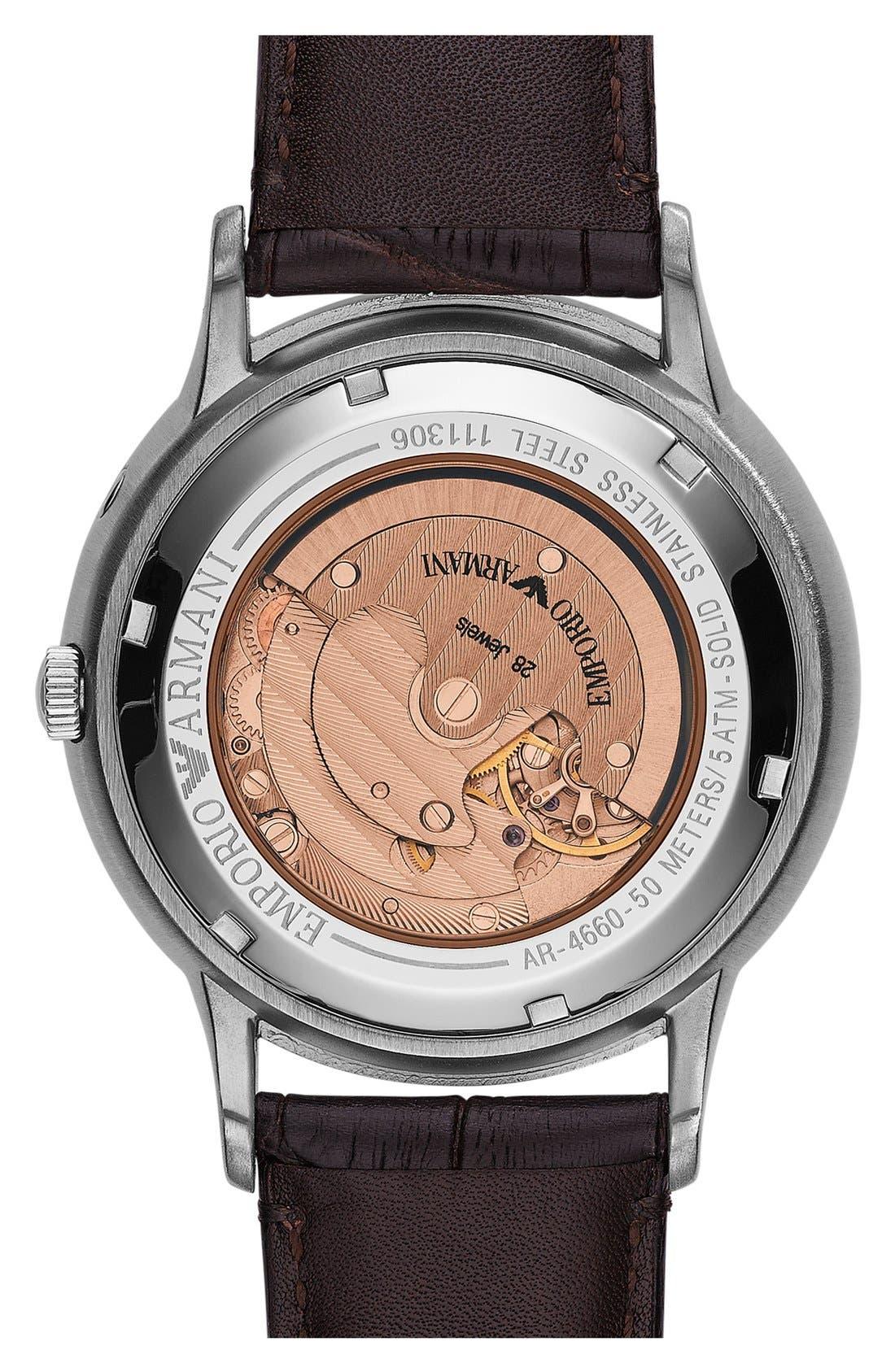 Alternate Image 3  - Emporio Armani Meccanico Automatic Leather Strap Watch, 43mm