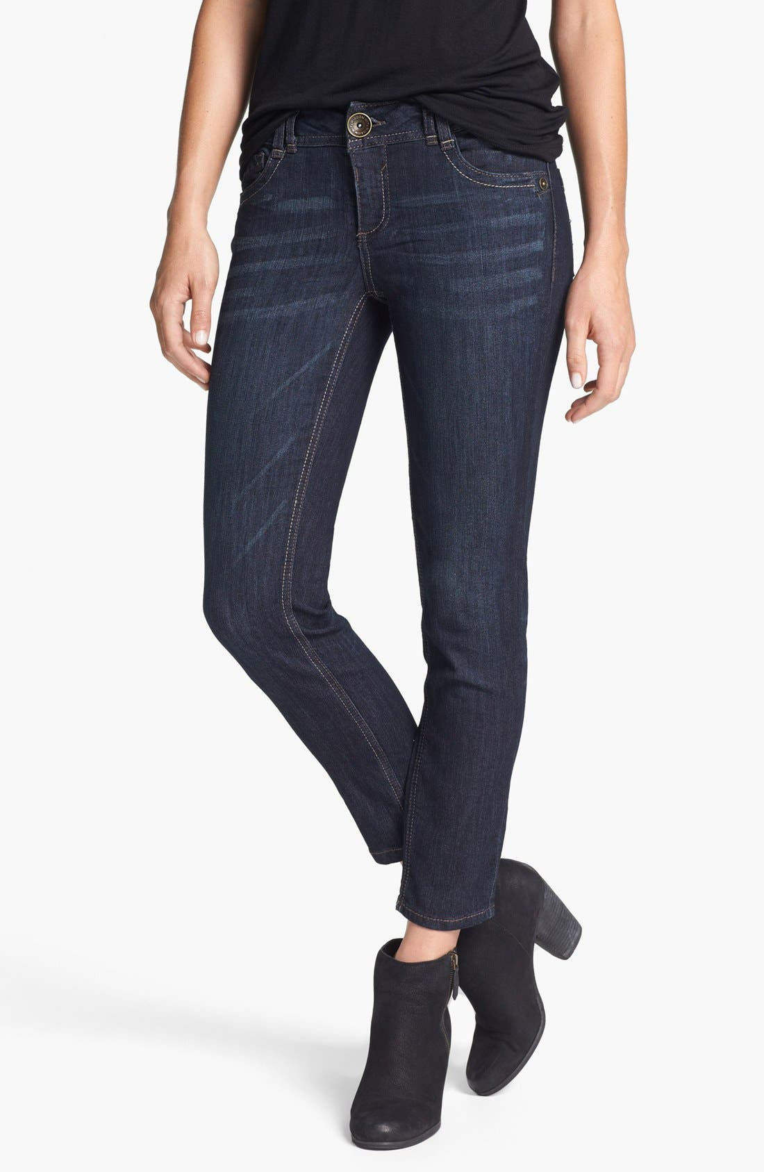 Alternate Image 1 Selected - Wit & Wisdom Skinny Ankle Jeans (Dark Blue)
