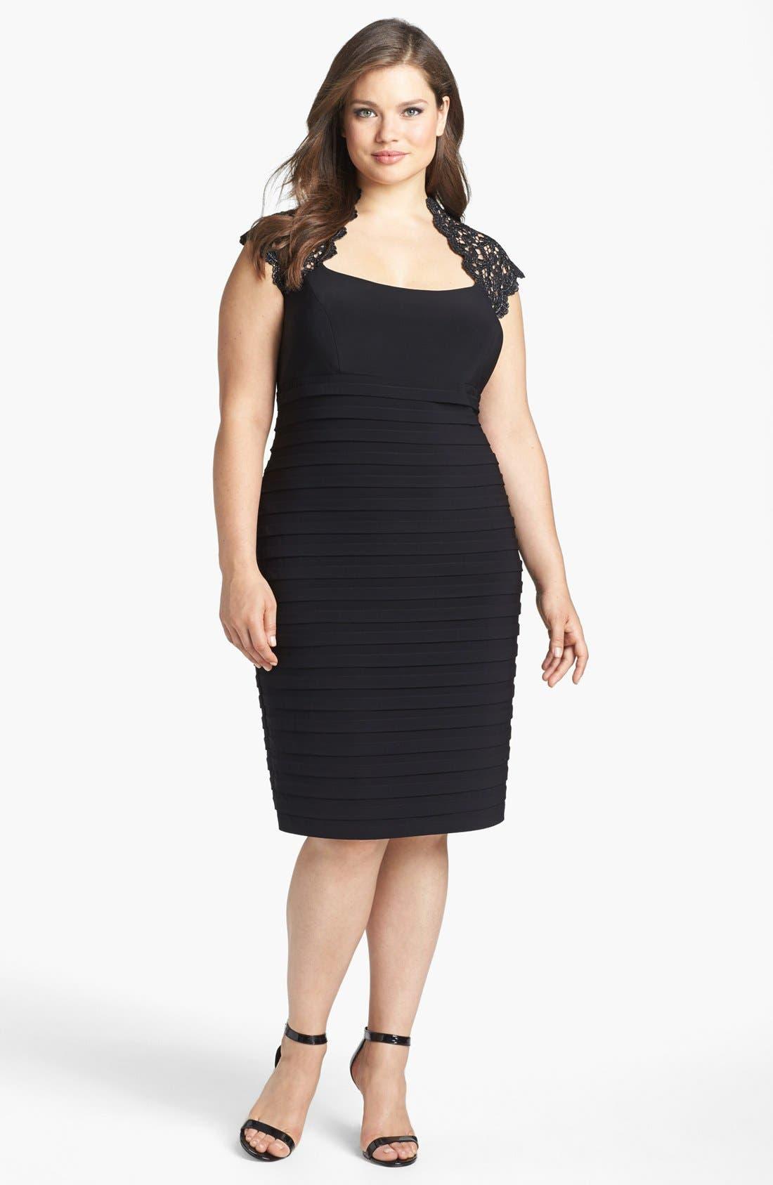 Main Image - Xscape Lace Yoke Banded Sheath Dress (Plus Size)