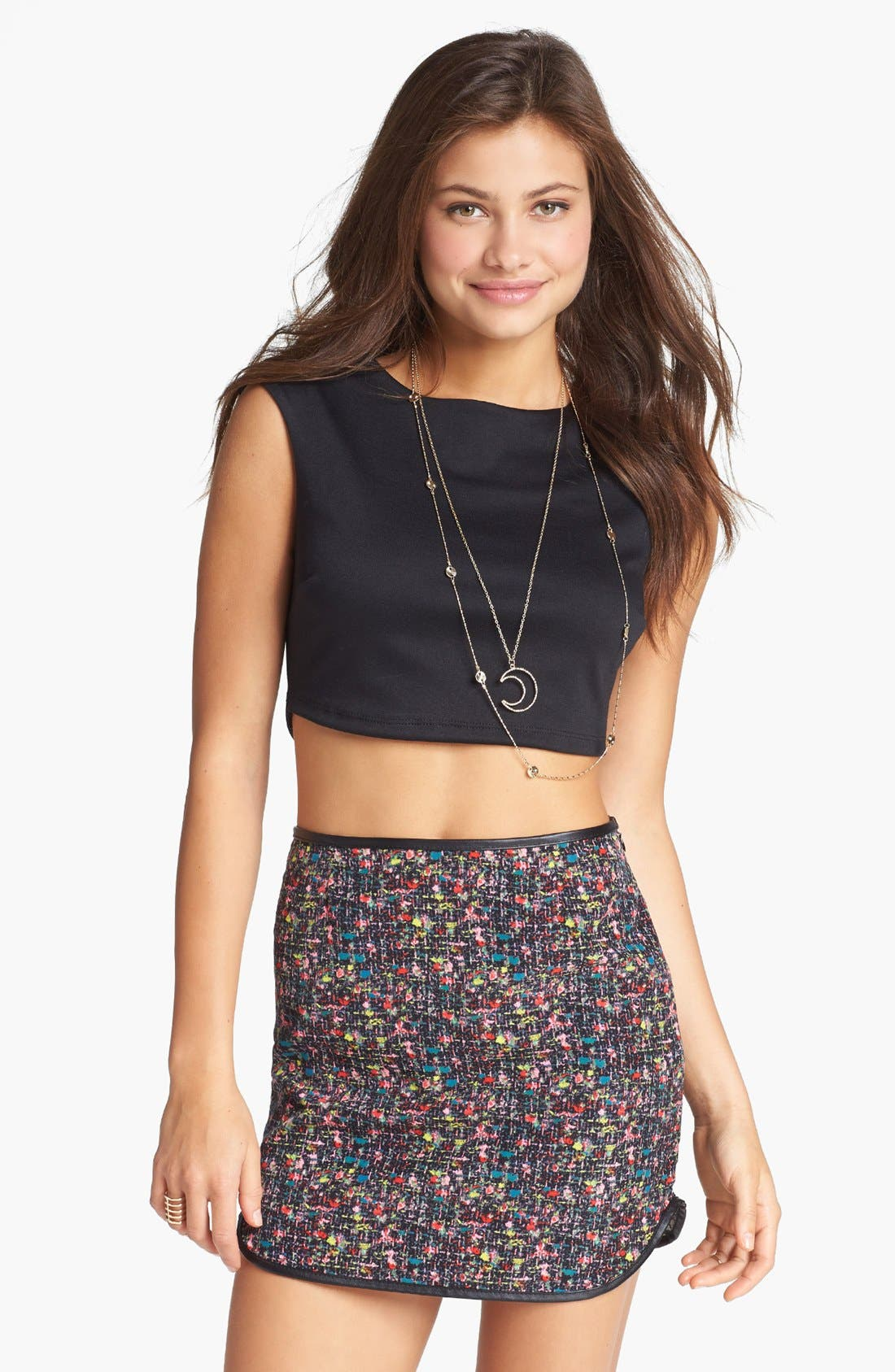 Alternate Image 1  - Lush Tweed Print Miniskirt (Juniors) (Online Only)