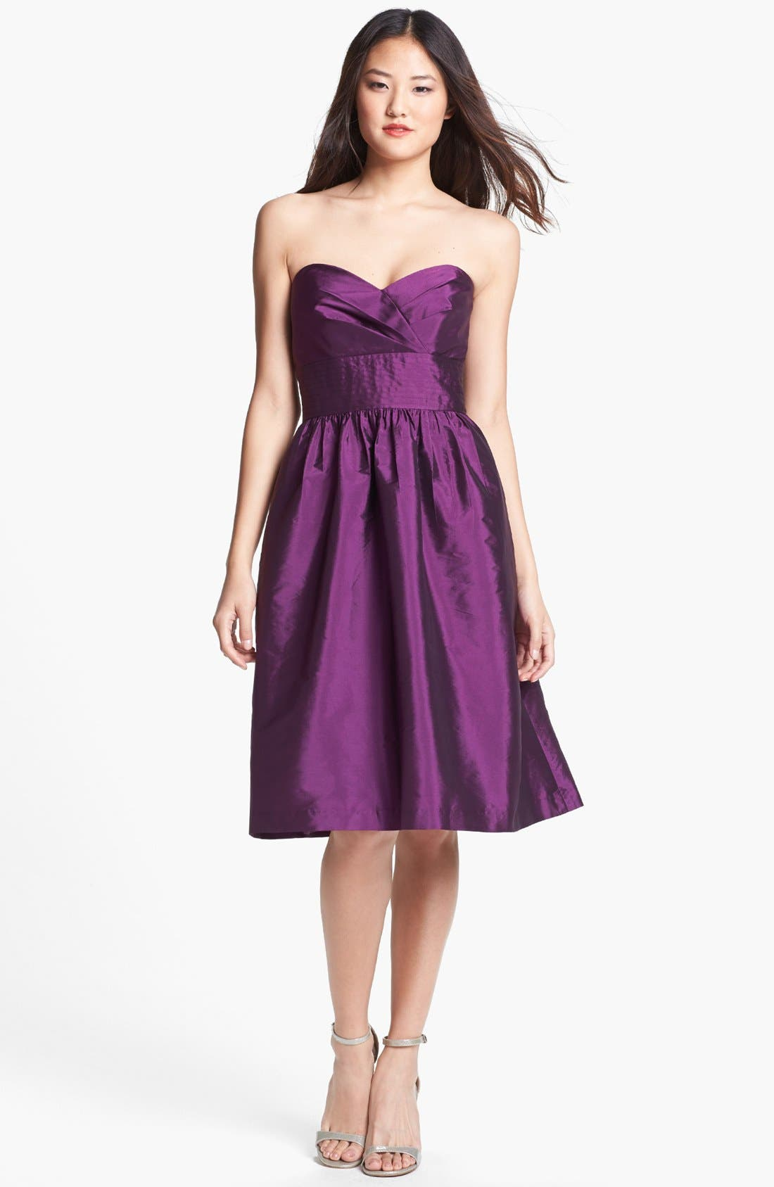 Alternate Image 1 Selected - Alfred Sung Strapless Satin Fit & Flare Dress