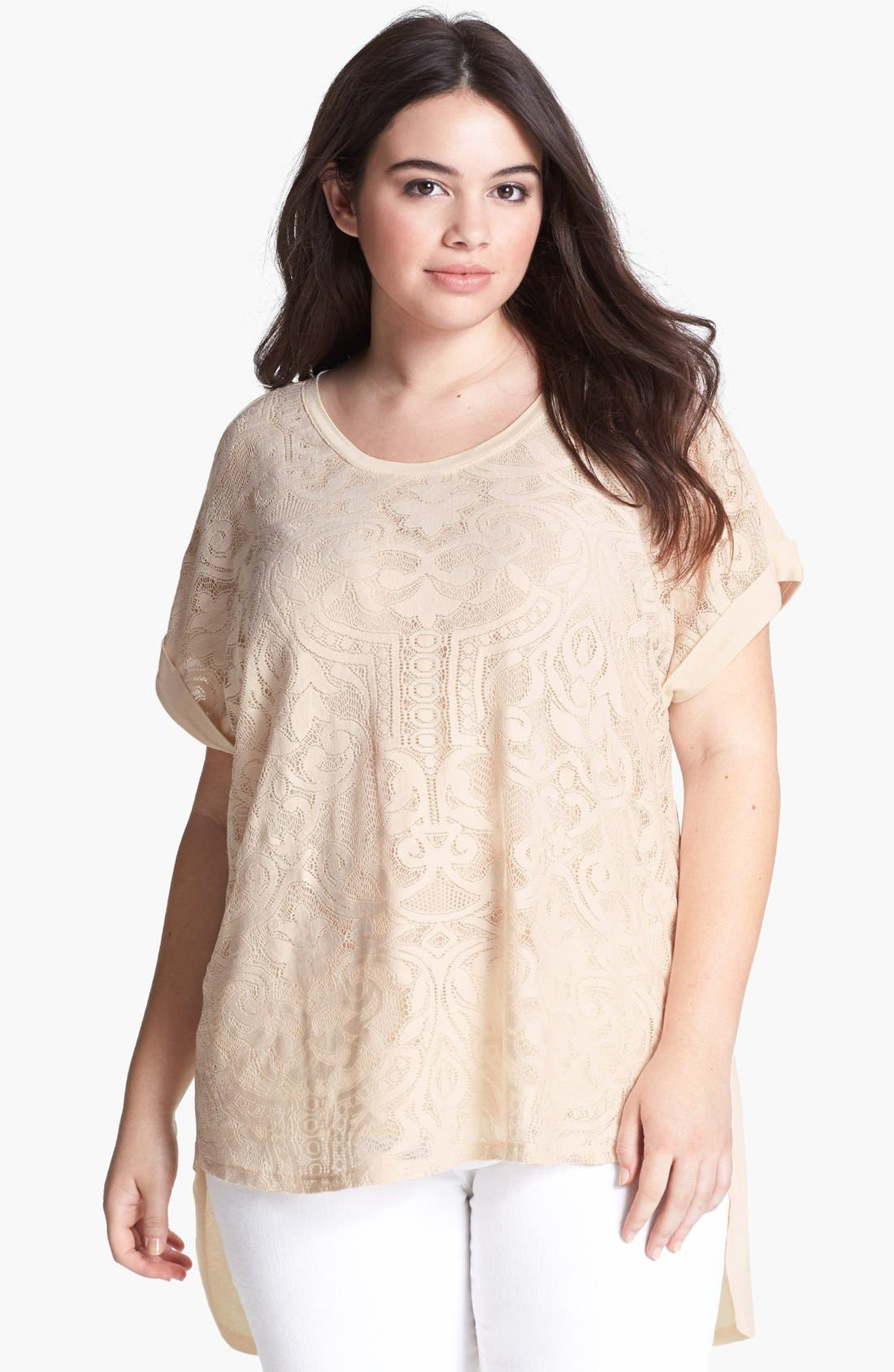 Alternate Image 1 Selected - Kische Lace Front High/Low Top (Plus Size)