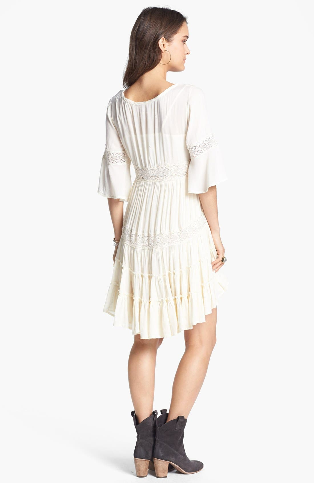 Alternate Image 2  - Free People 'Dream Cloud' Lace Trim High/Low Dress