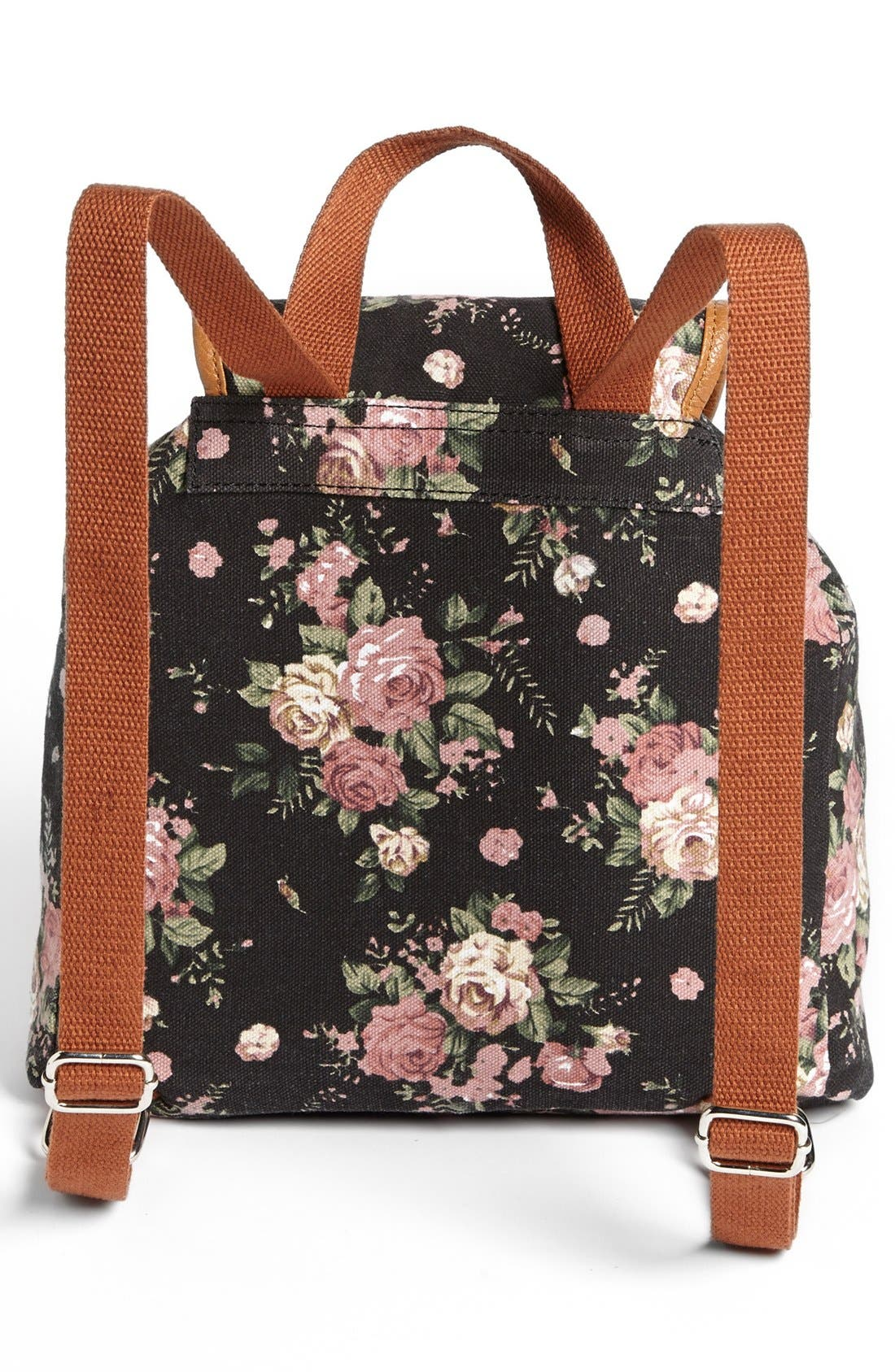 Alternate Image 4  - Amici Accessories Rose Print Canvas Backpack (Juniors) (Online Only)