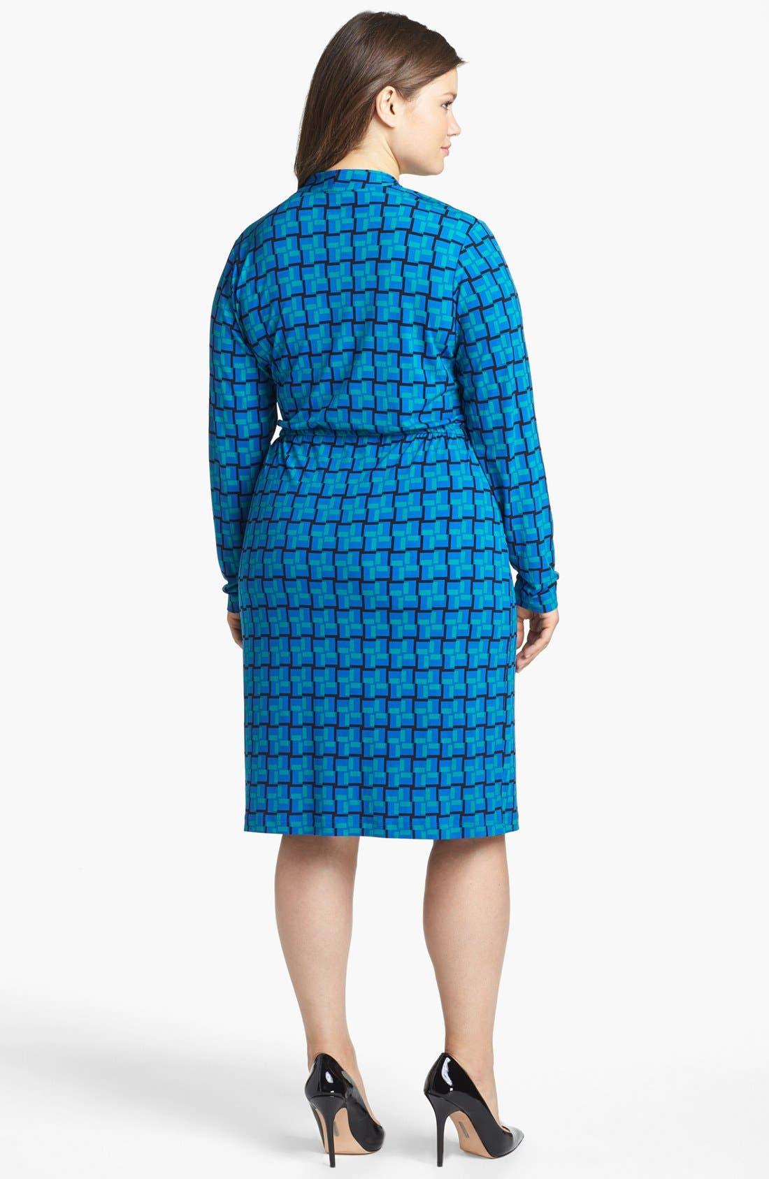 Alternate Image 2  - Calvin Klein Print Faux Wrap Dress (Plus Size)