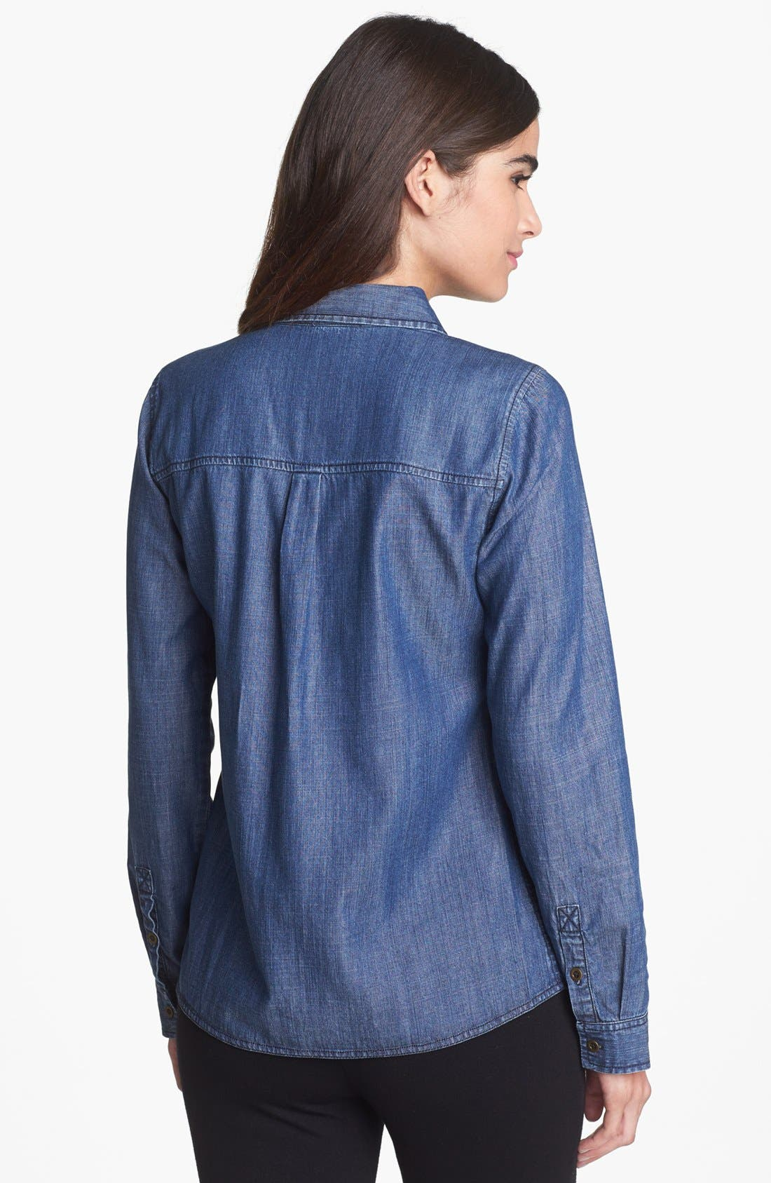 Alternate Image 2  - Eileen Fisher Denim Shirt (Regular & Petite)
