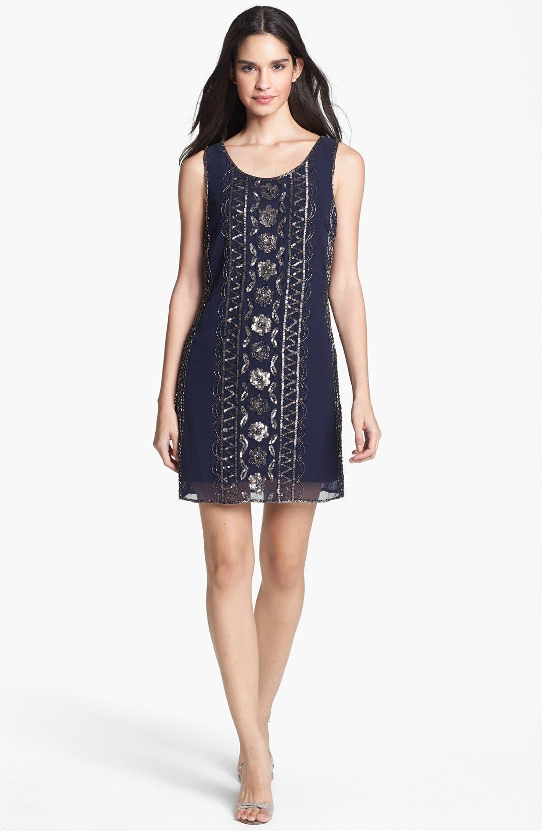 Main Image - Adrianna Papell Embellished Chiffon Shift Dress