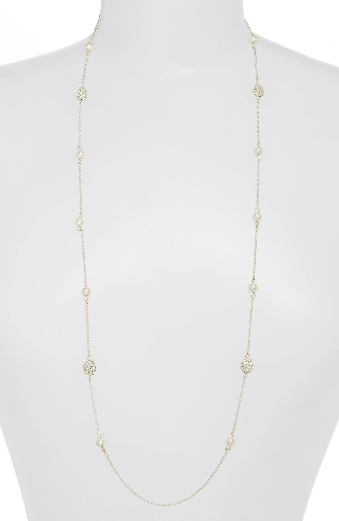 Main Image - Lauren Ralph Lauren Long Glass Pearl & Pavé Bead Illusion Necklace