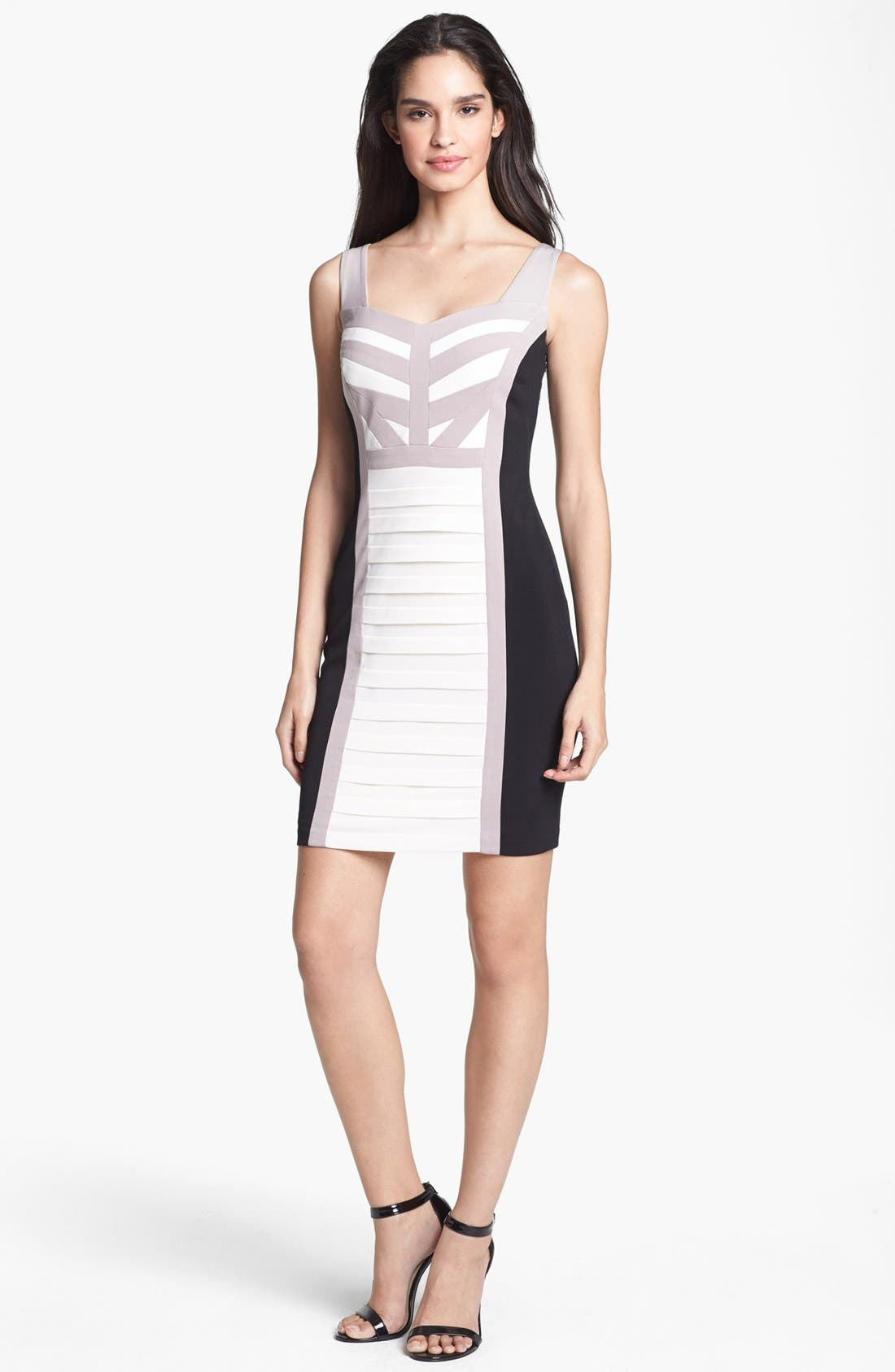 Alternate Image 1 Selected - JAX Colorblock Shutter Pleat Body-Con Dress