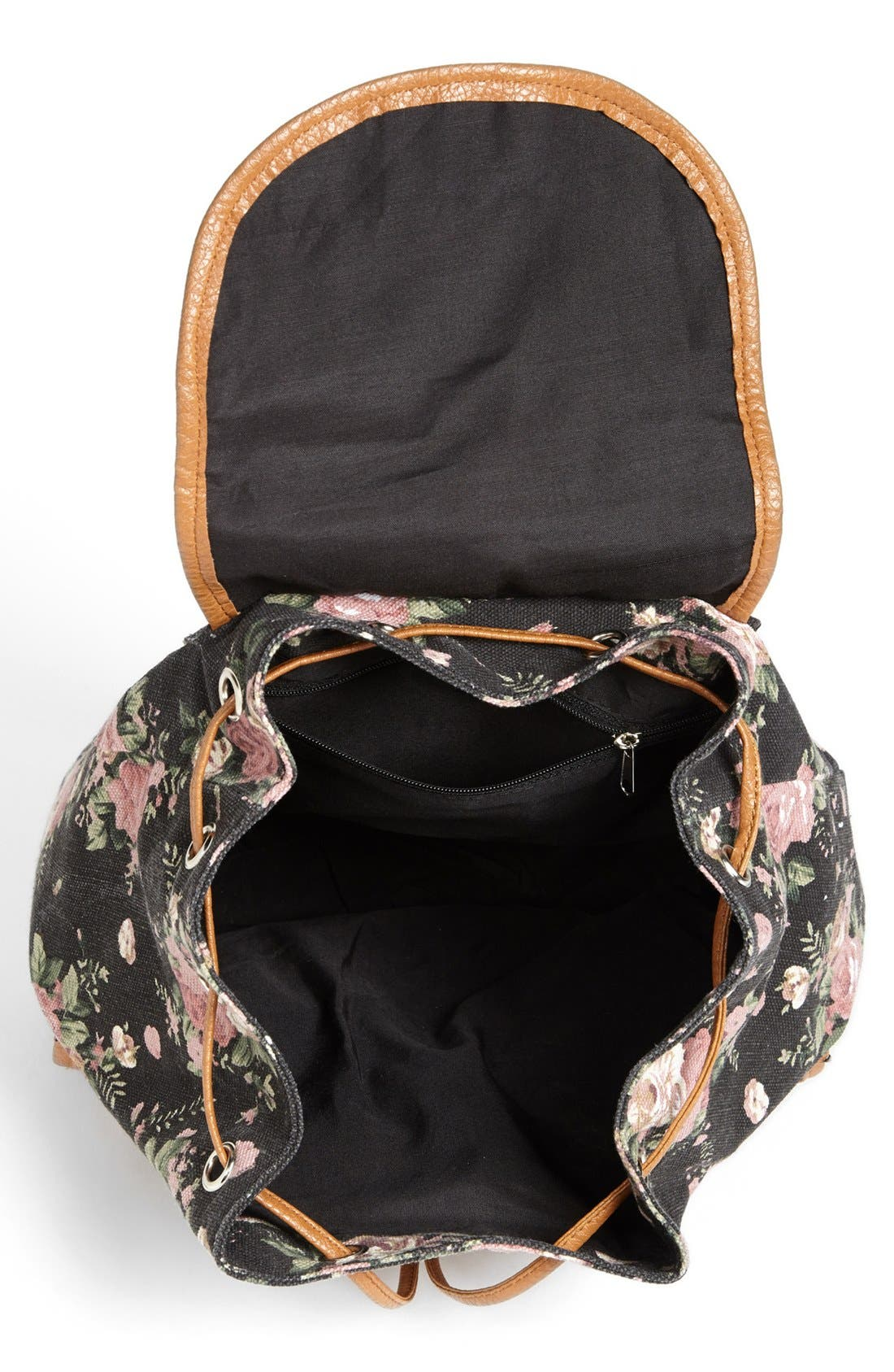 Alternate Image 3  - Amici Accessories Rose Print Canvas Backpack (Juniors) (Online Only)