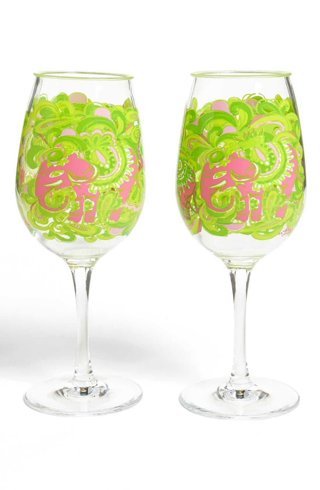 Main Image - Lilly Pulitzer® Print Acrylic Wine Glasses (Set of 2)