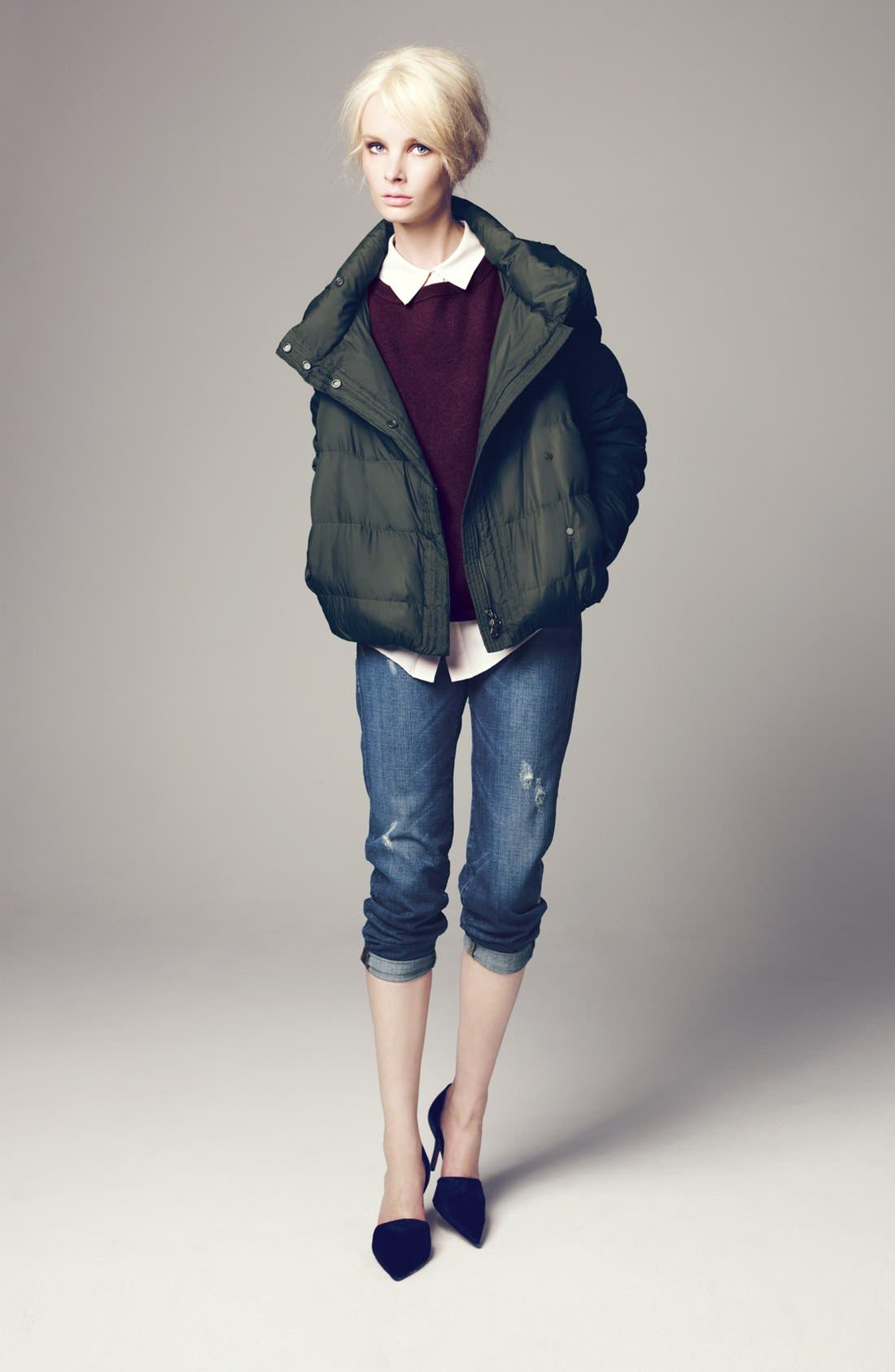 Main Image - Vince Jacket, Cashmere Sweater, Silk Blouse & Jeans