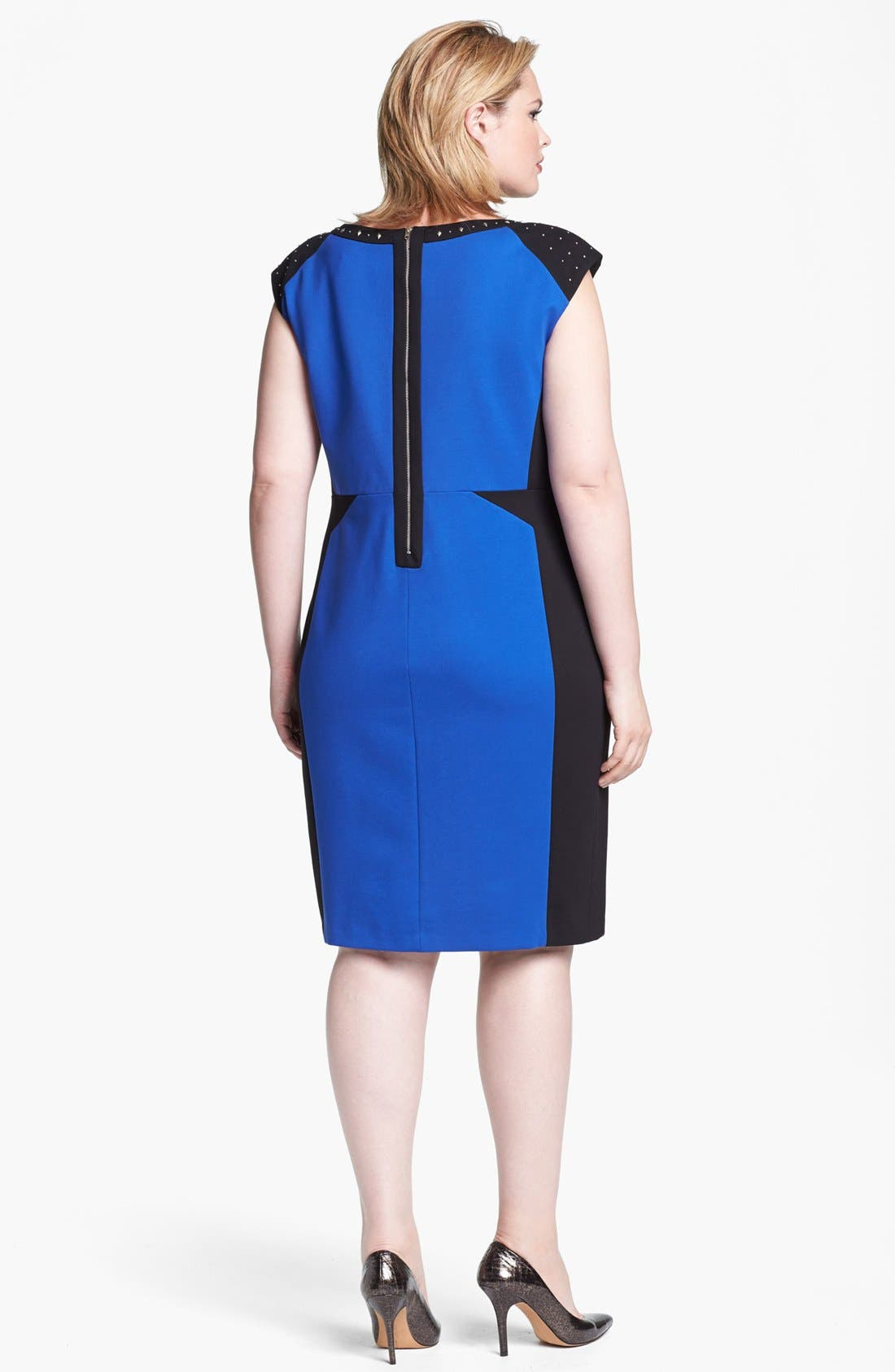 Alternate Image 2  - ABS Luxury Collection Studded Colorblock Sheath Dress (Plus Size)