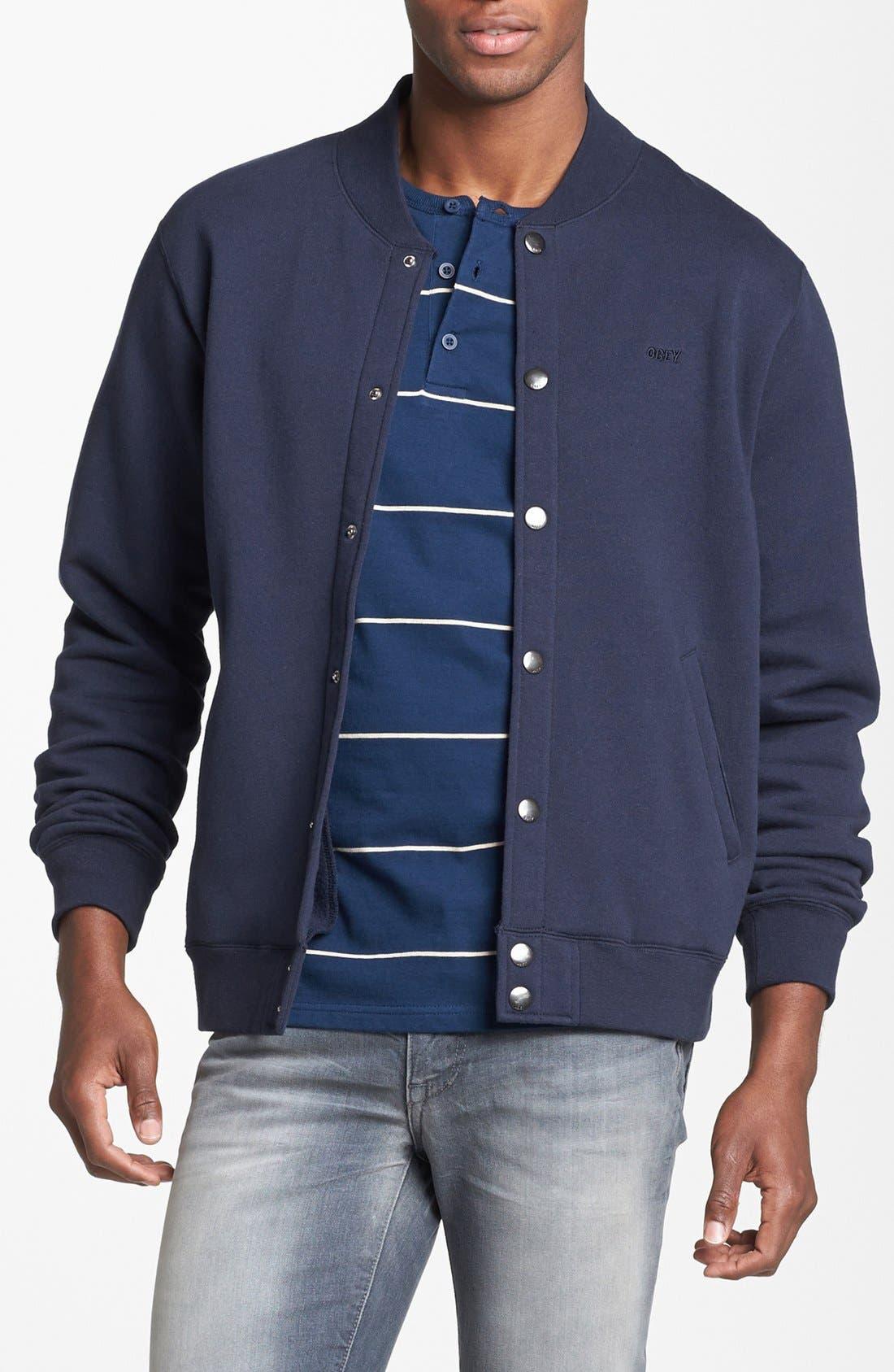 Main Image - Obey 'Back Lot' Jersey Varsity Jacket
