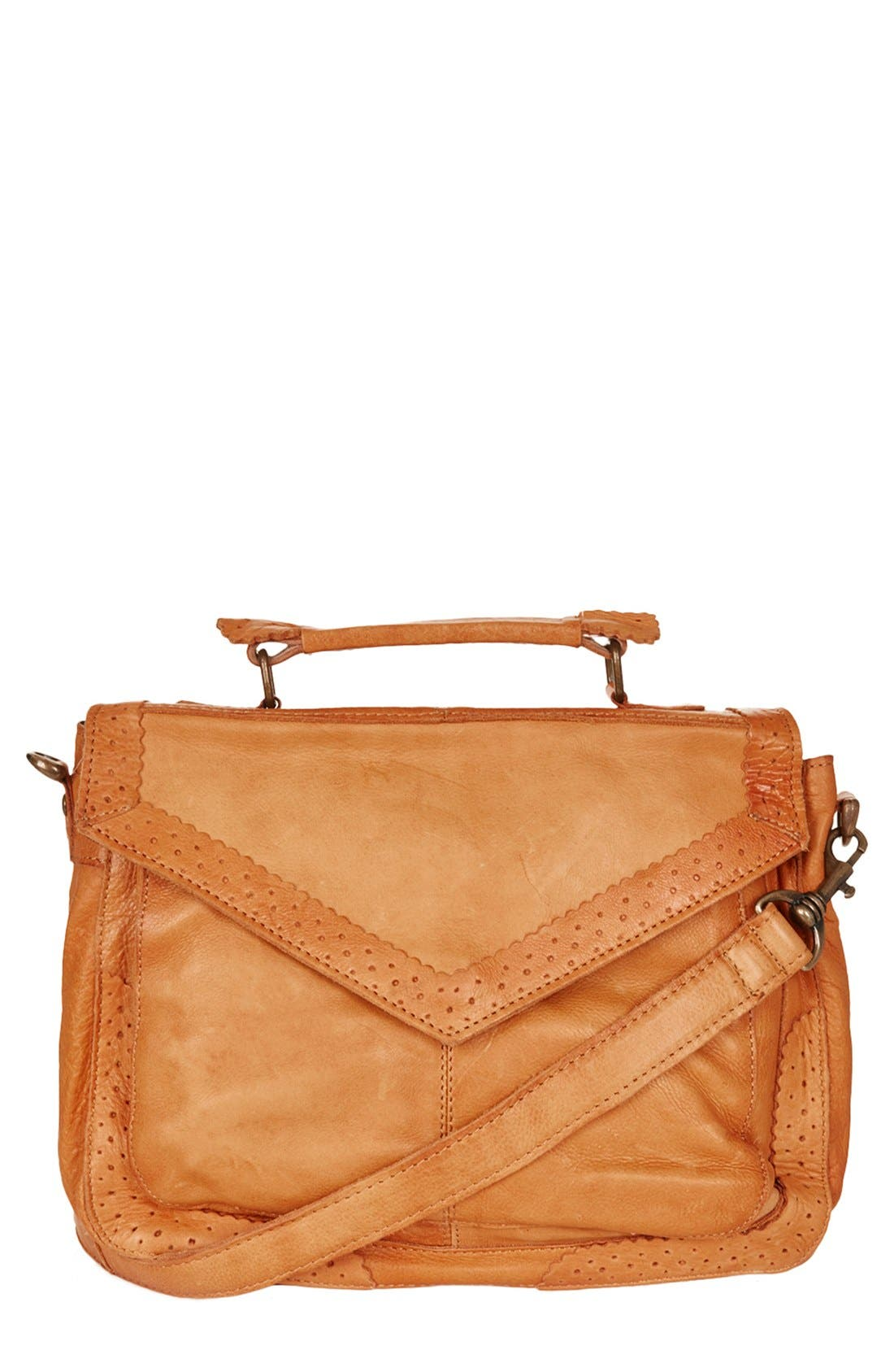 Main Image - Topshop 'Brogue' Leather Satchel