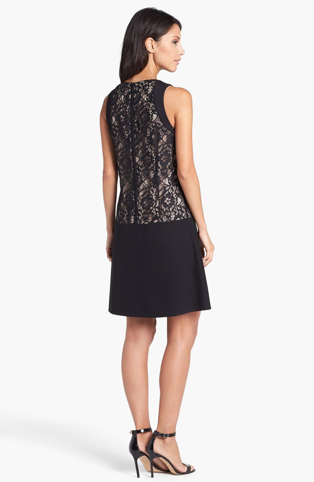 Alternate Image 2  - Laundry by Shelli Segal Lace & Ponte Drop Waist Dress