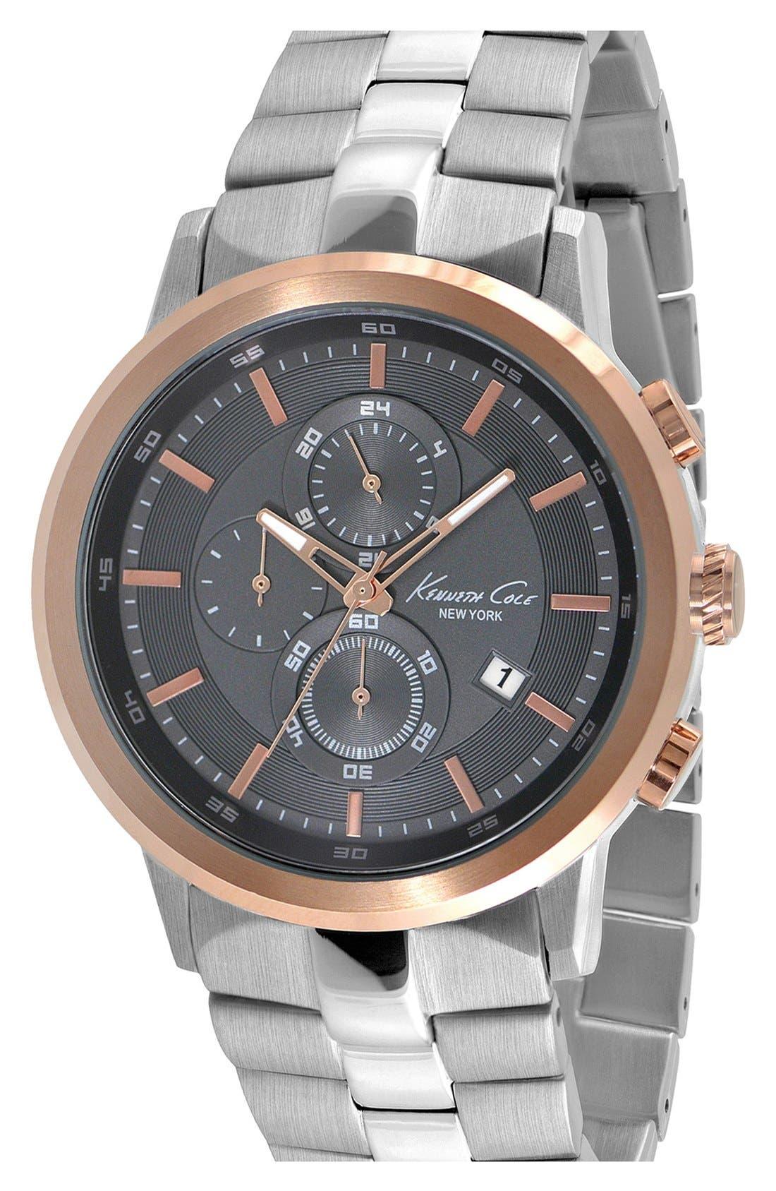 Main Image - Kenneth Cole New York Round Chronograph Bracelet Watch, 46mm