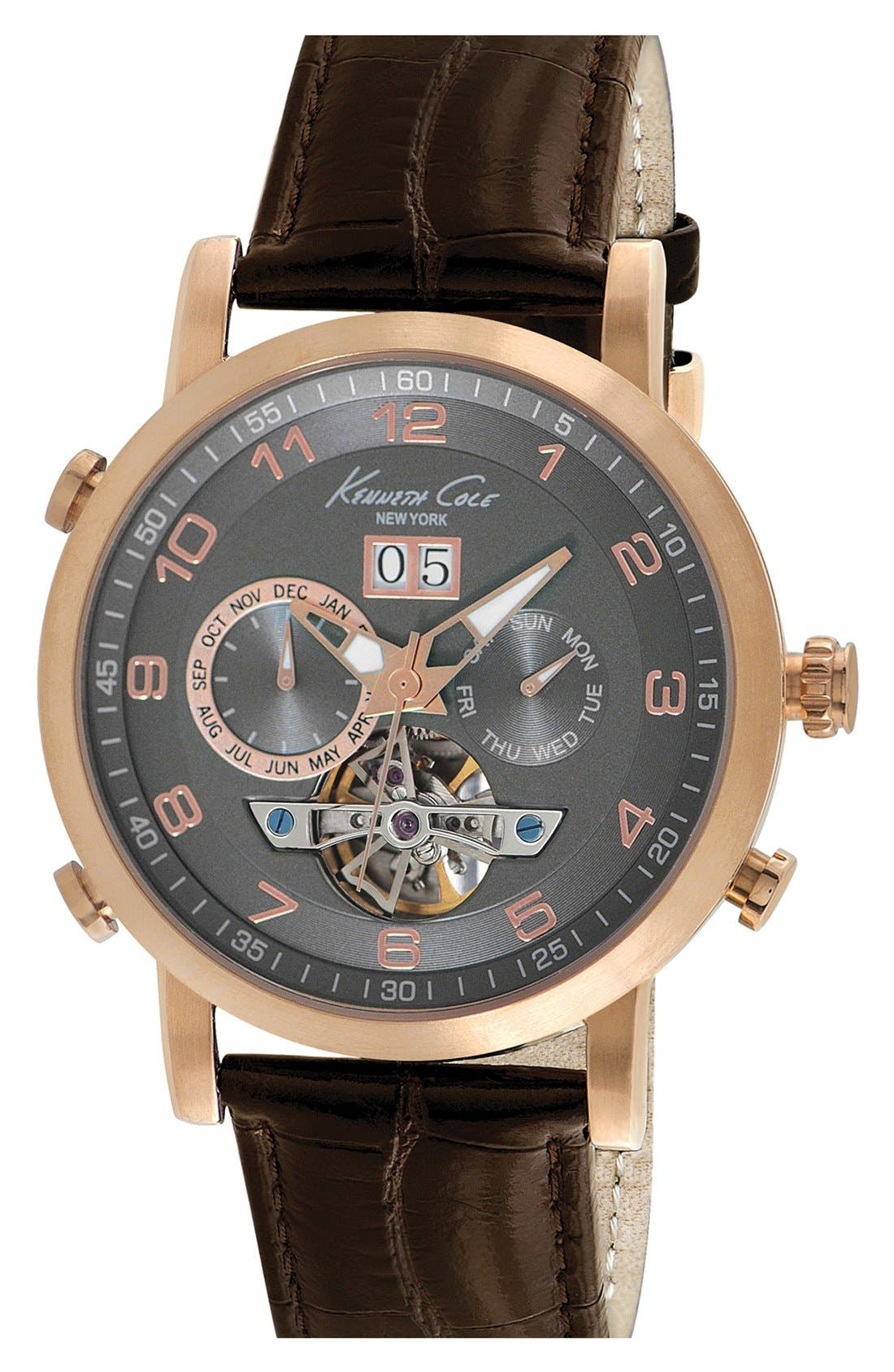 Alternate Image 1 Selected - Kenneth Cole New York Automatic Leather Strap, 44mm