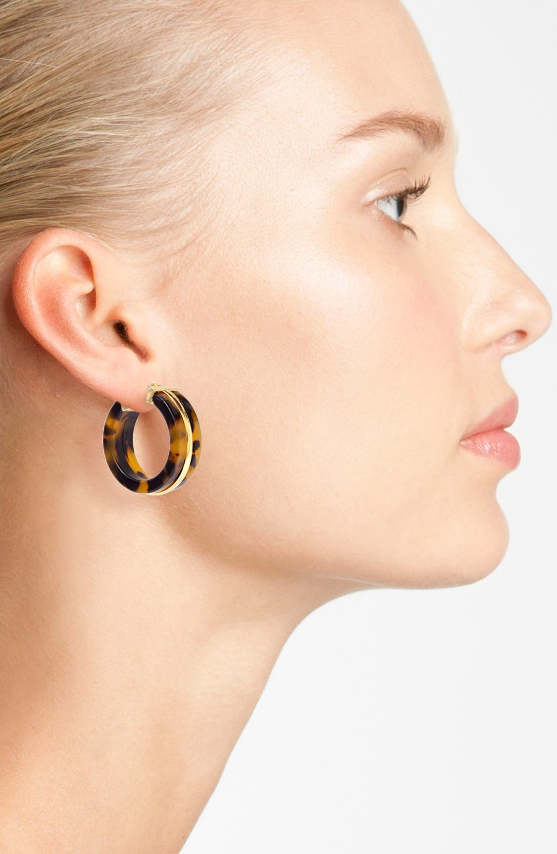 Alternate Image 2  - Lauren Ralph Lauren Faux Tortoiseshell Hoop Earrings