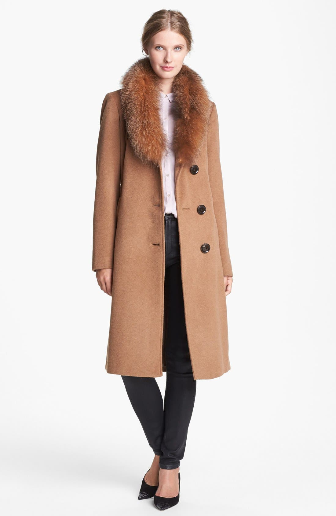 Alternate Image 1  - Ellen Tracy Genuine Fox Fur Trim Belted Long Coat (Regular & Petite) (Online Only)