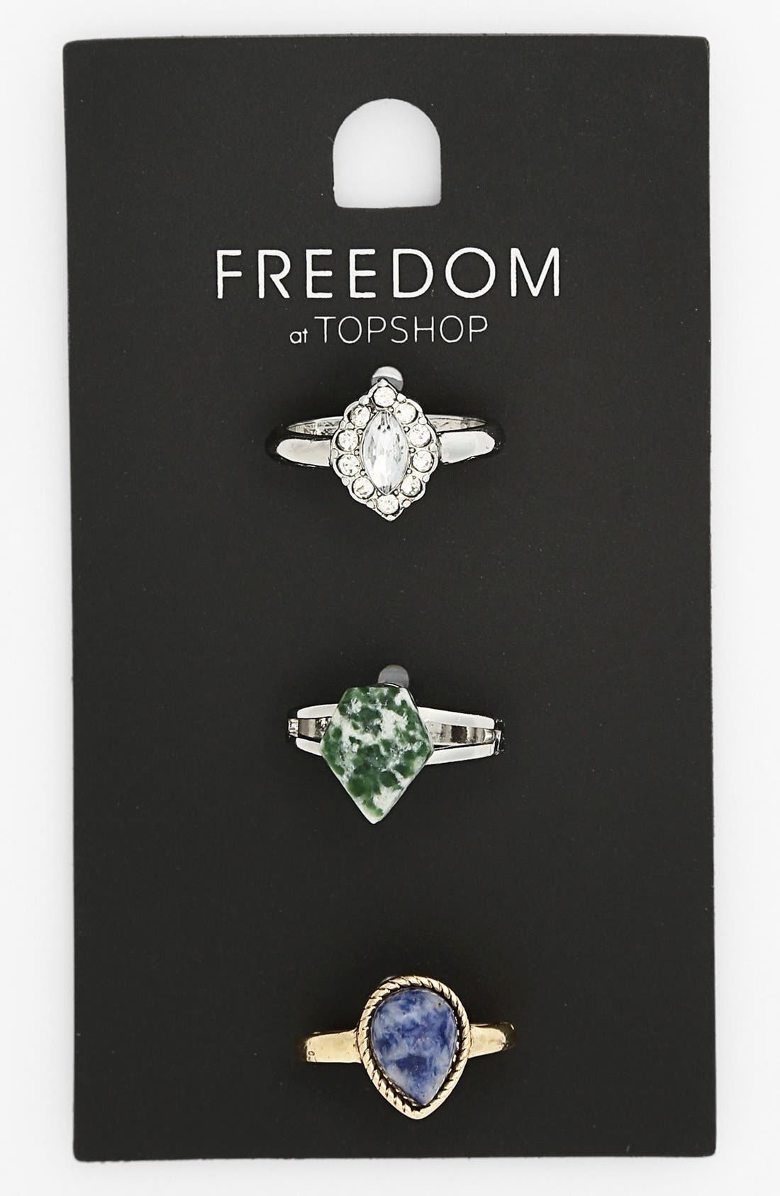 Alternate Image 1 Selected - Topshop Stone & Crystal Rings (Set of 3)