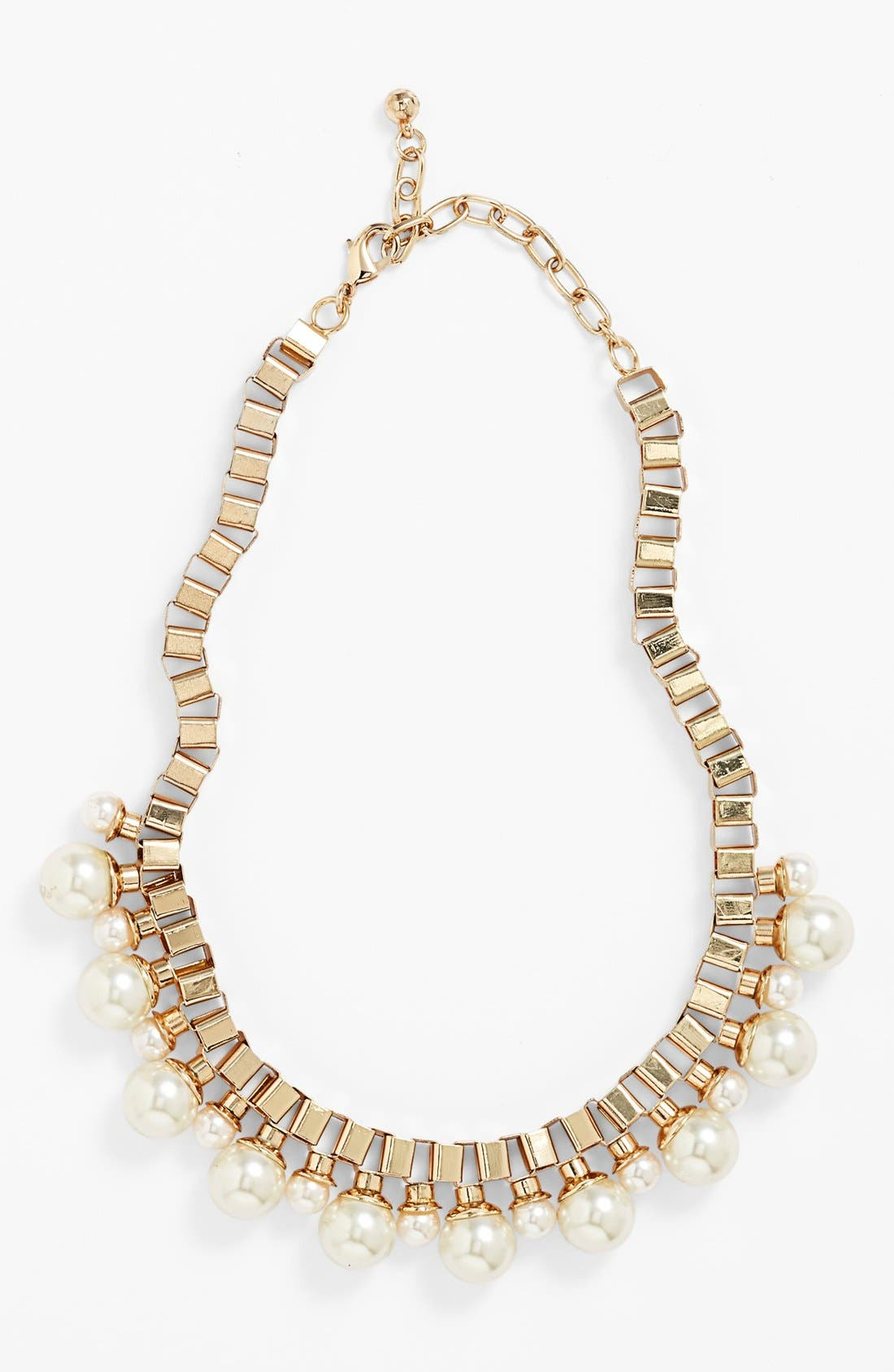 Main Image - Natasha Couture Faux Pearl Box Chain Necklace