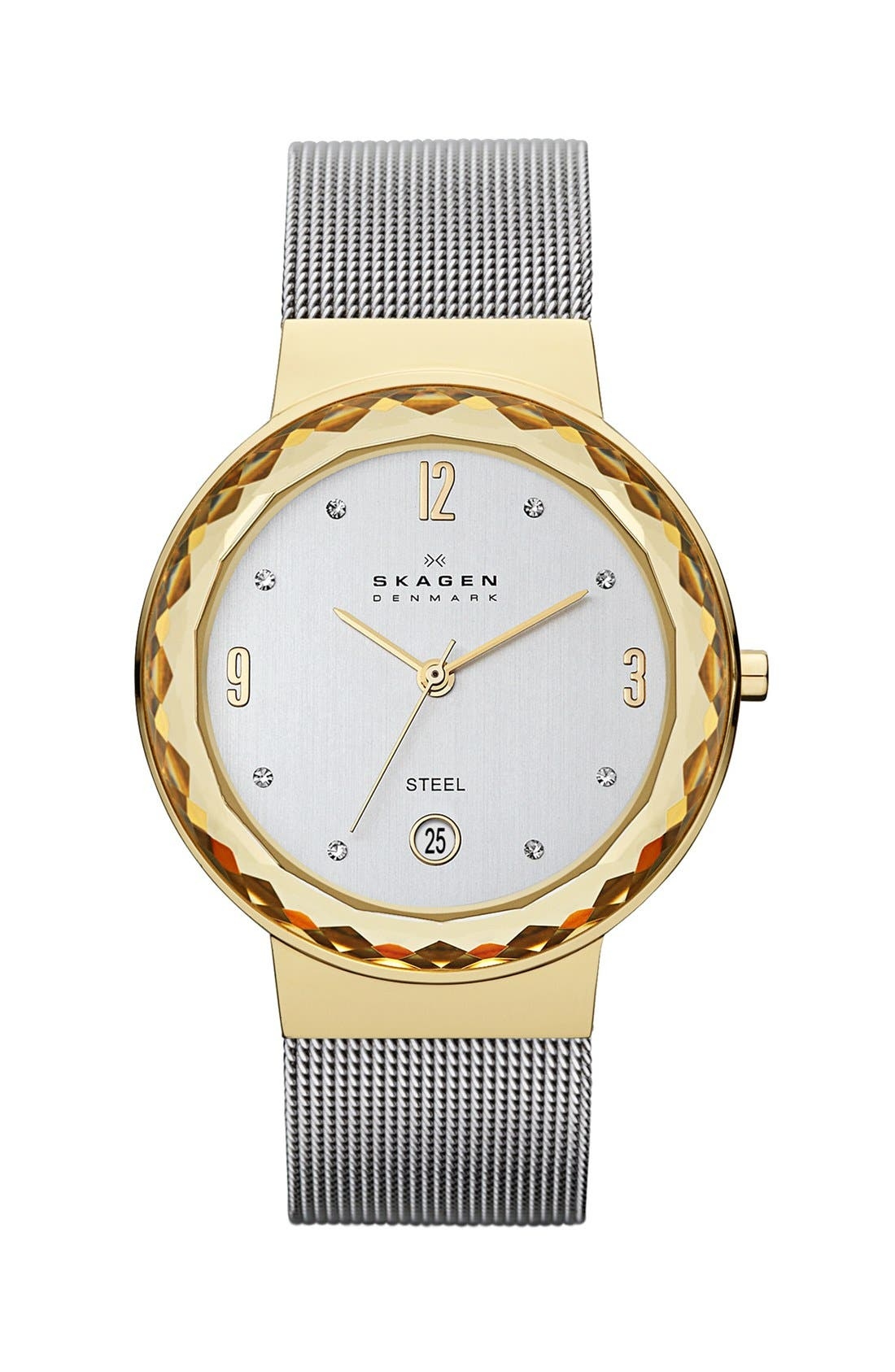 Alternate Image 1 Selected - Skagen 'Leonora' Large Faceted Glass Bezel Watch, 34mm