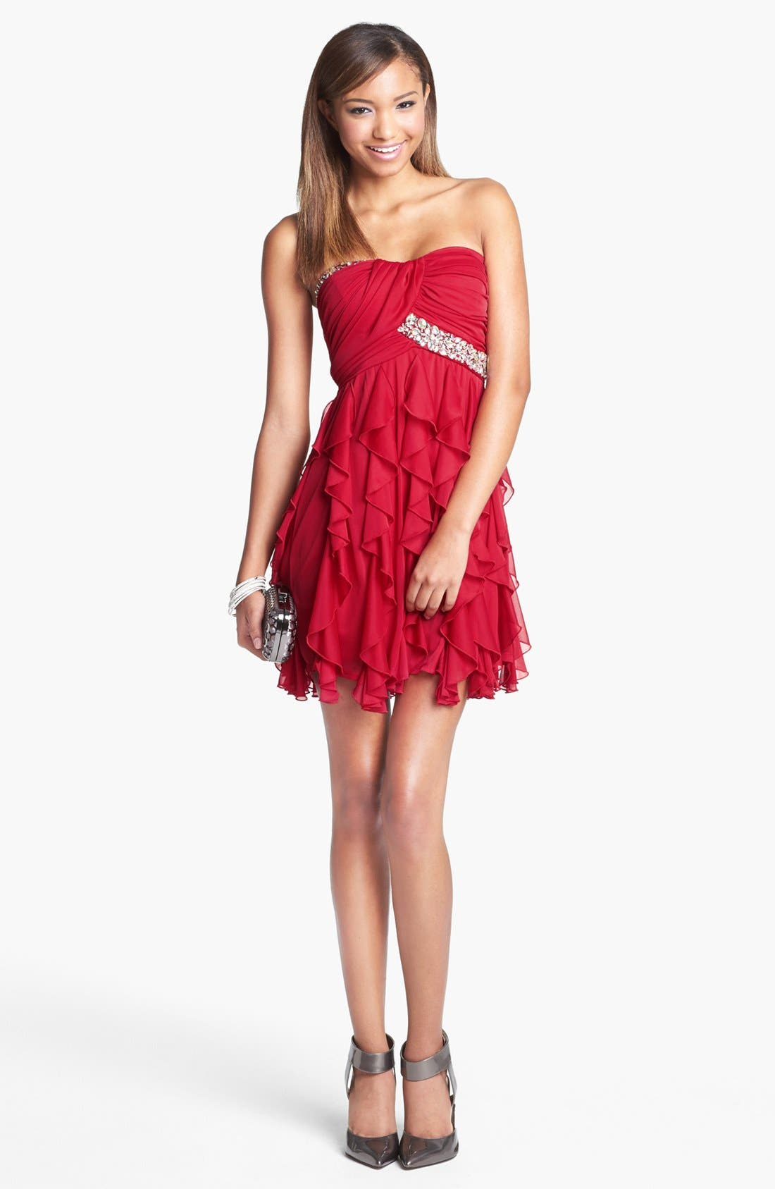 Main Image - As U Wish Embellished Ruffle Tube Dress (Juniors)