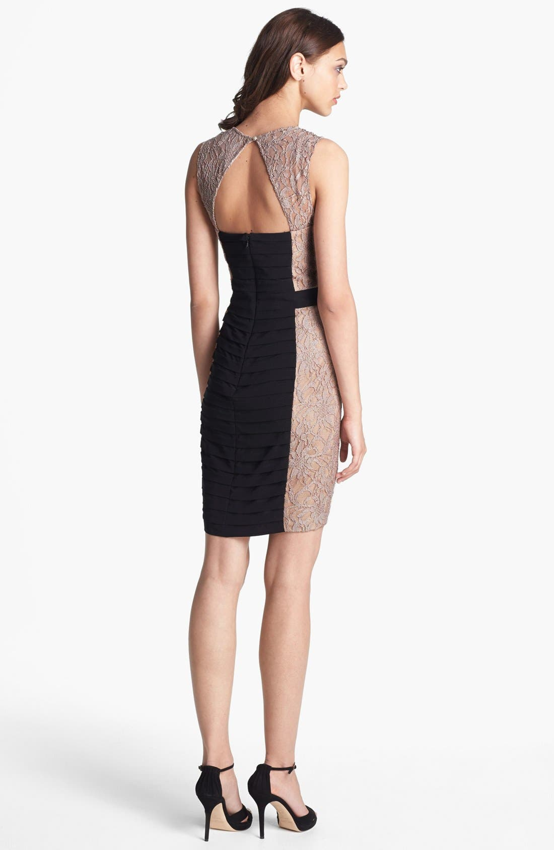 Alternate Image 2  - Hailey by Adrianna Papell Lace & Shutter Pleat Sheath Dress (Online Only)